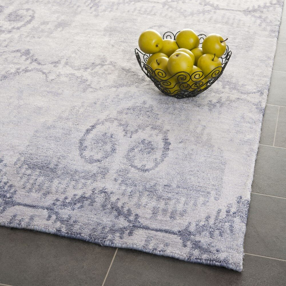 Arnav Hand-Knotted Gray Area Rug Rug Size: Rectangle 9' x 12'