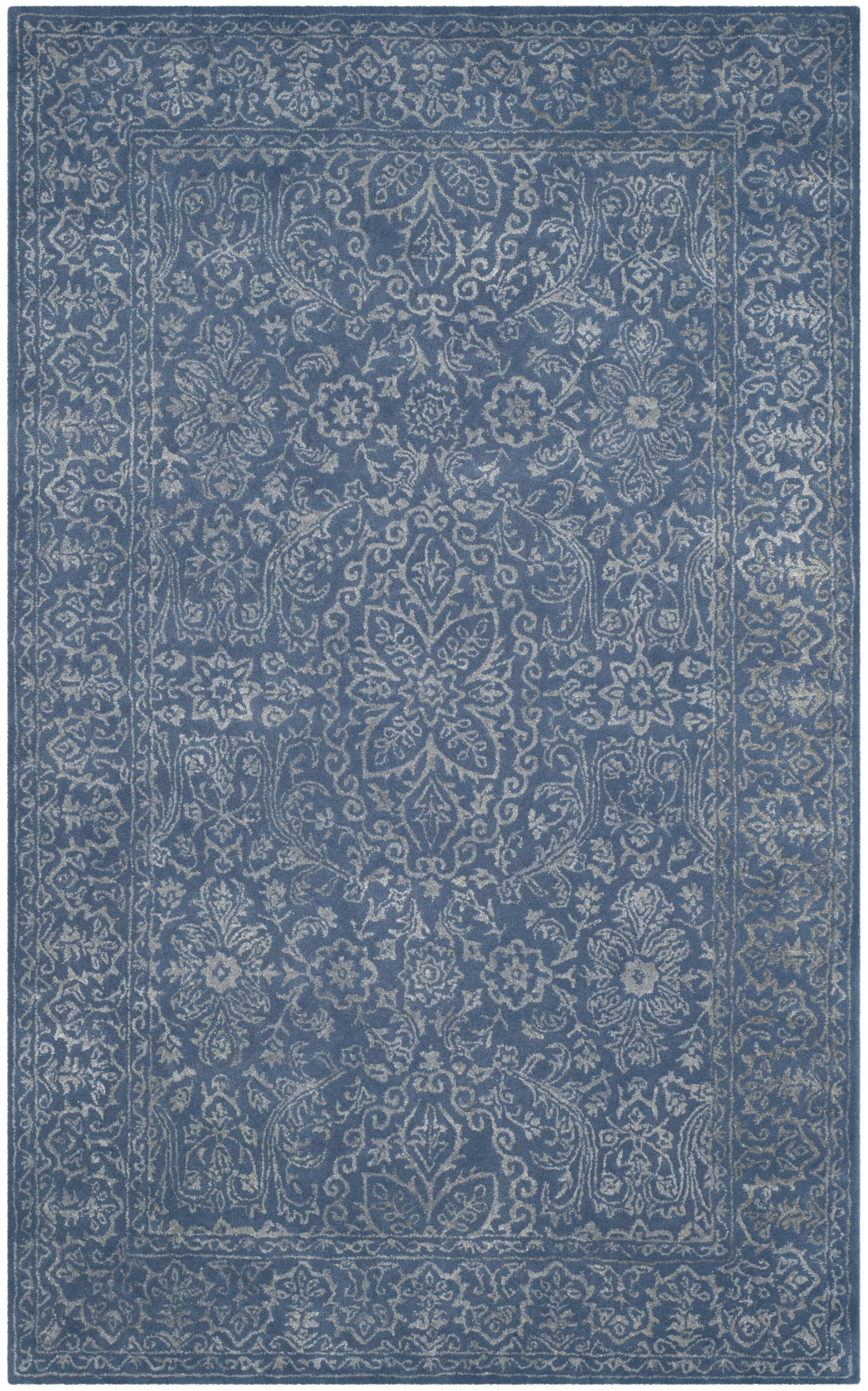 Wilkins Hand-Tufted Gray/Blue Area Rug Rug Size: Rectangle 6' x 9'