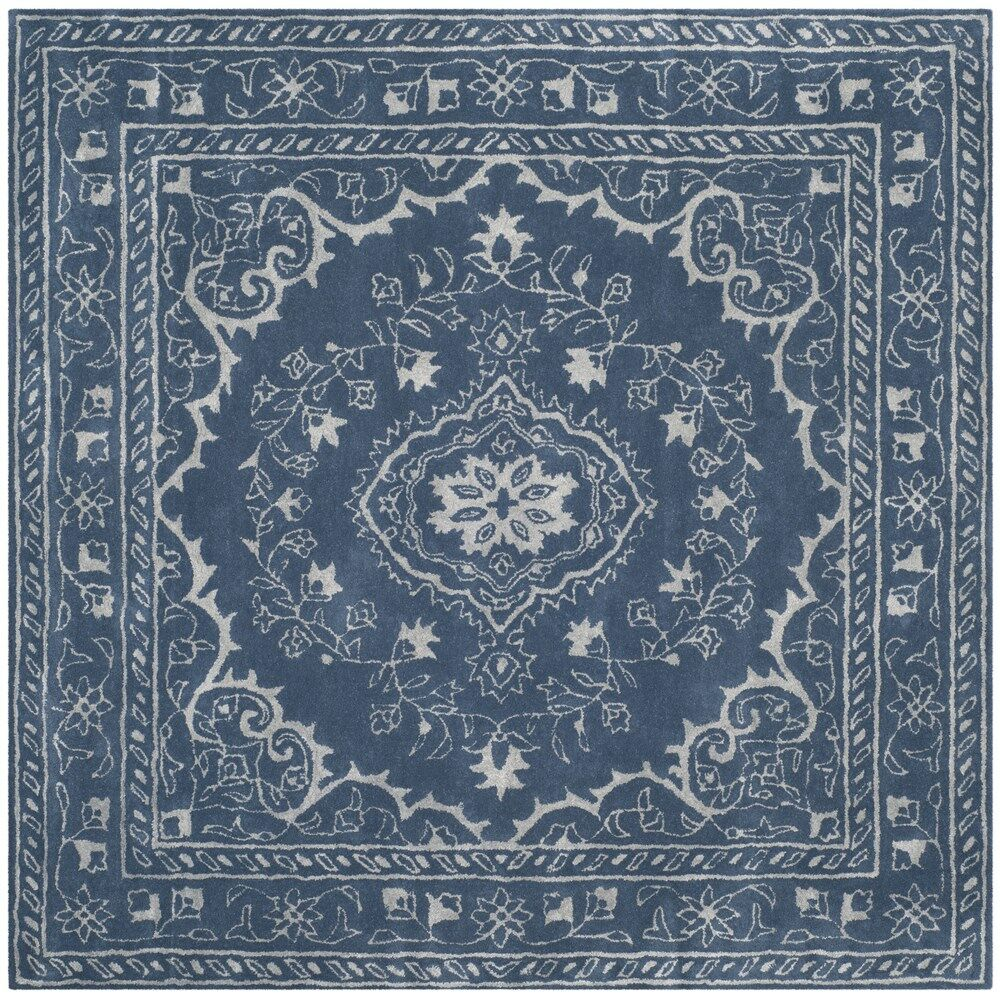 Samaniego Hand-Tufted Blue Area Rug Rug Size: Square 6'