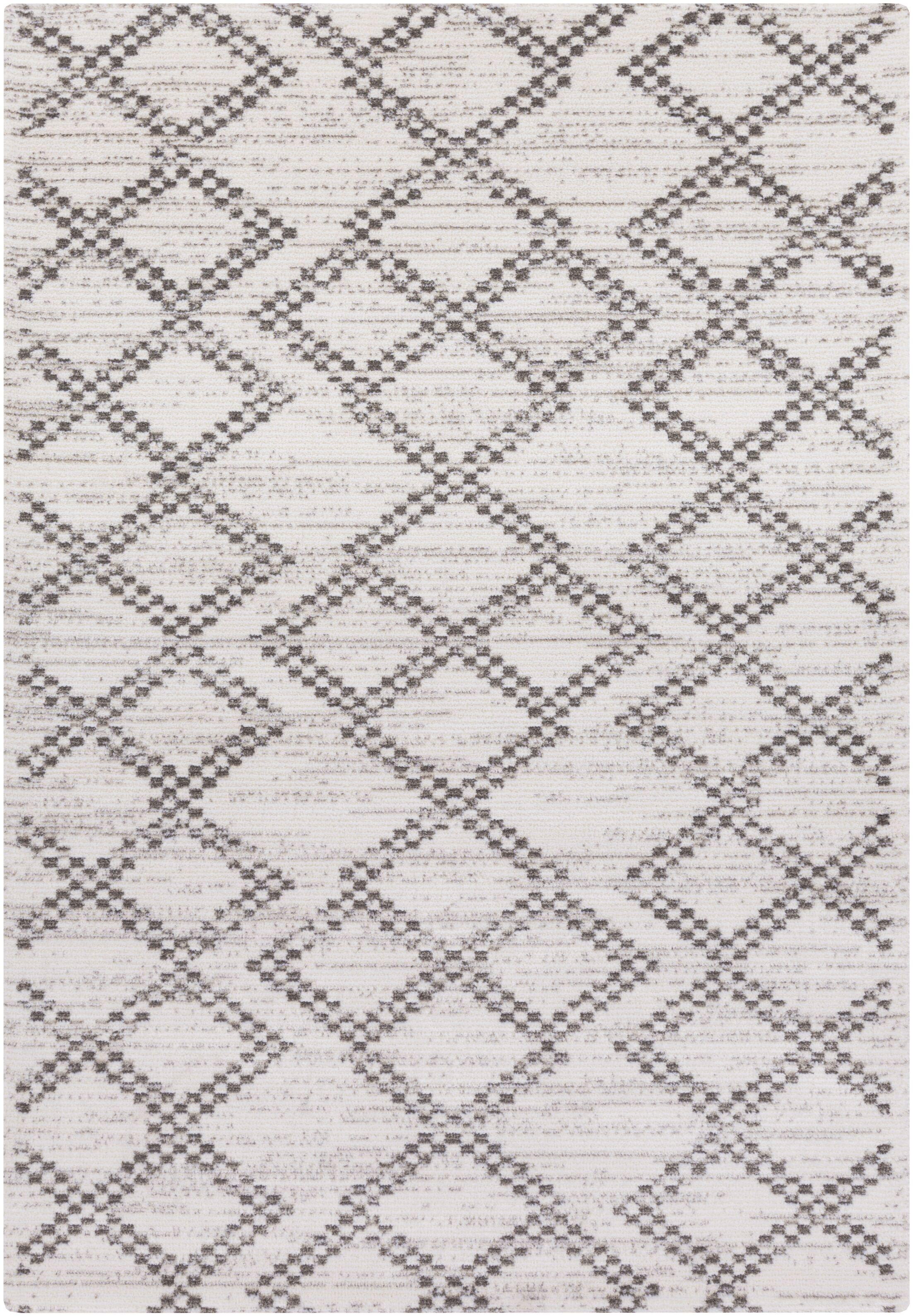 Bremen Ivory/Charcoal Area Rug Rug Size: Rectangle 2' x 3'