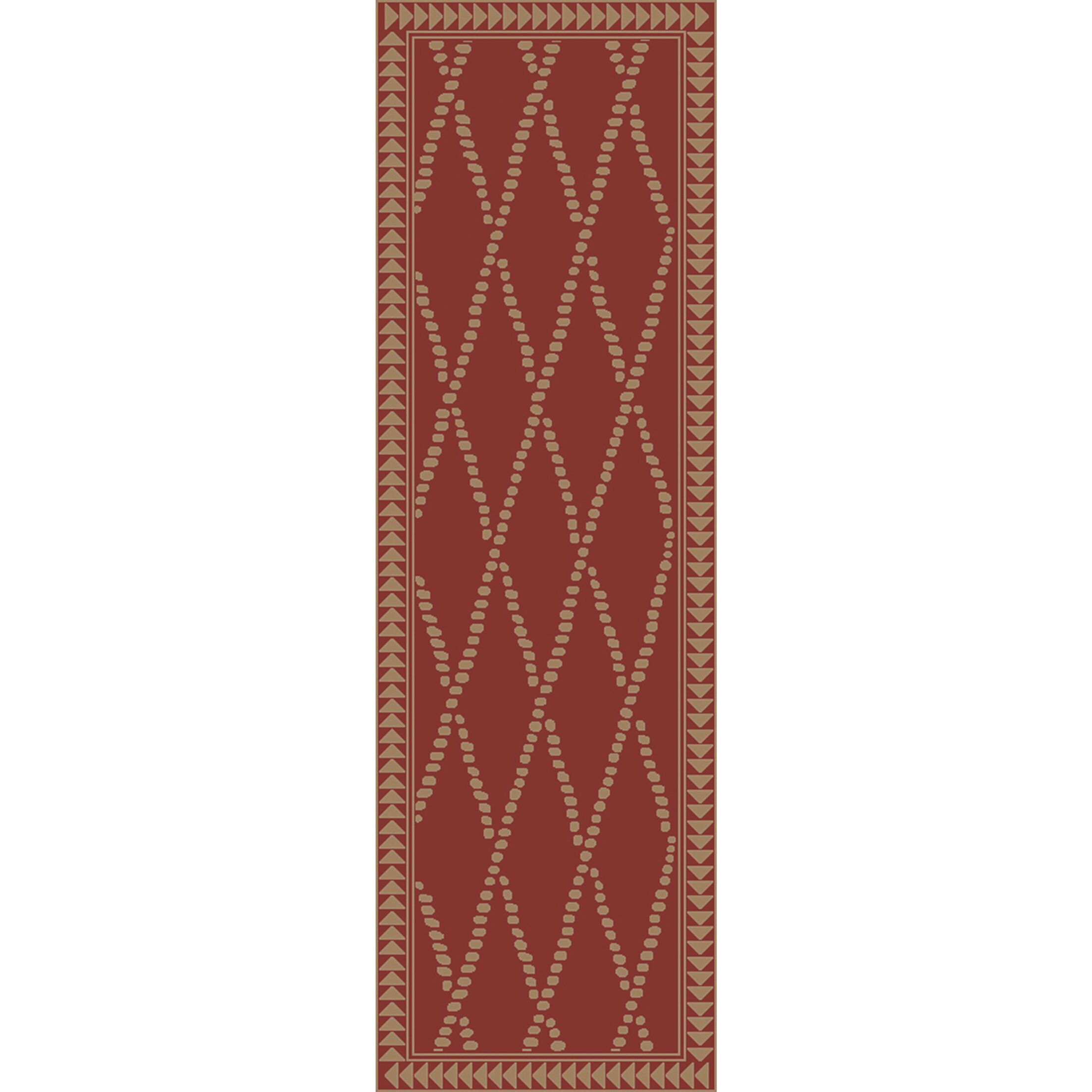 Elvera Hand-Knotted Red/Neutral Area Rug Rug Size: Runner 2'6