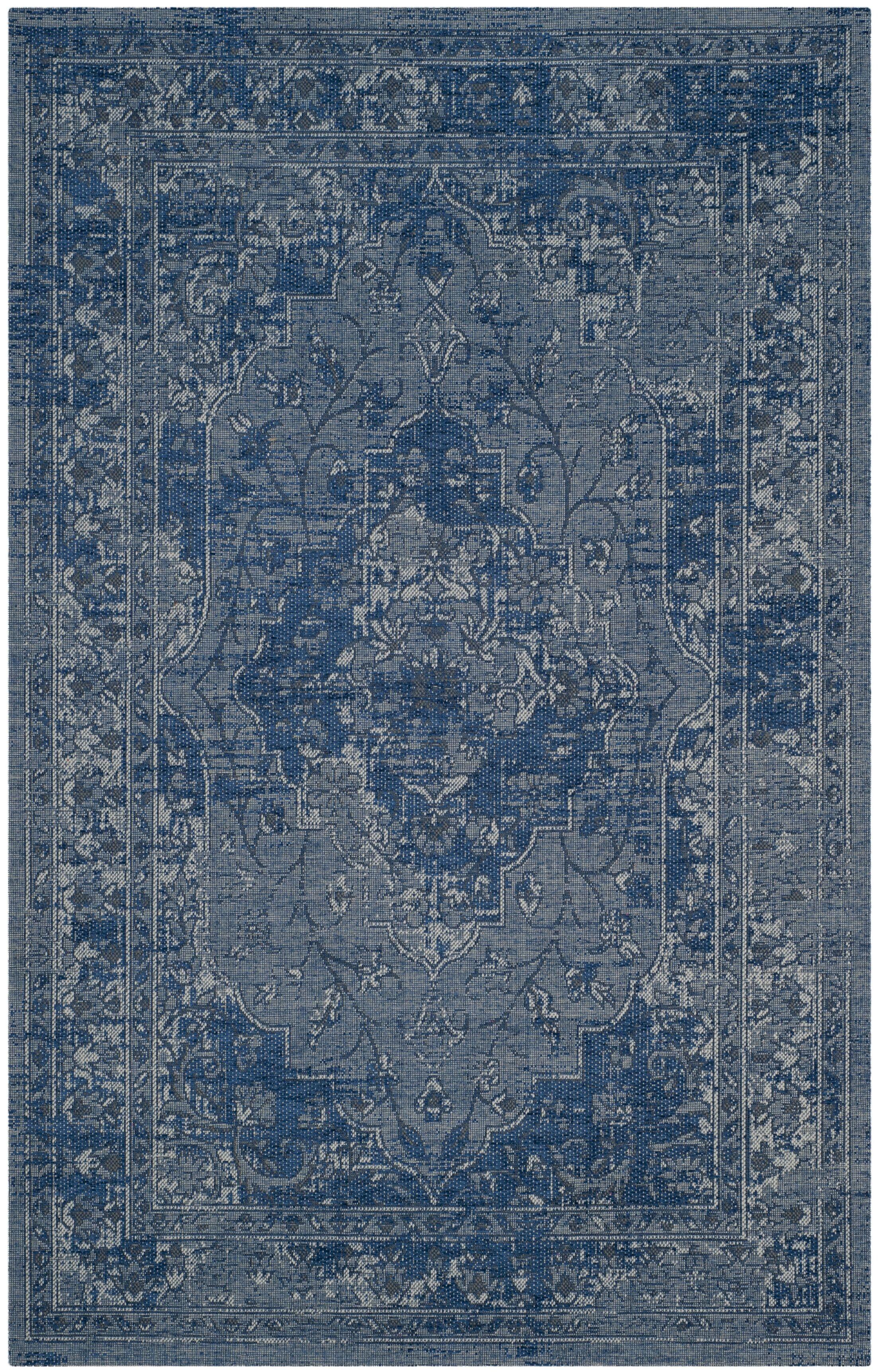 Port Laguerre Blue/Light Gray Area Rug Rug Size: Rectangle 8' x 11'