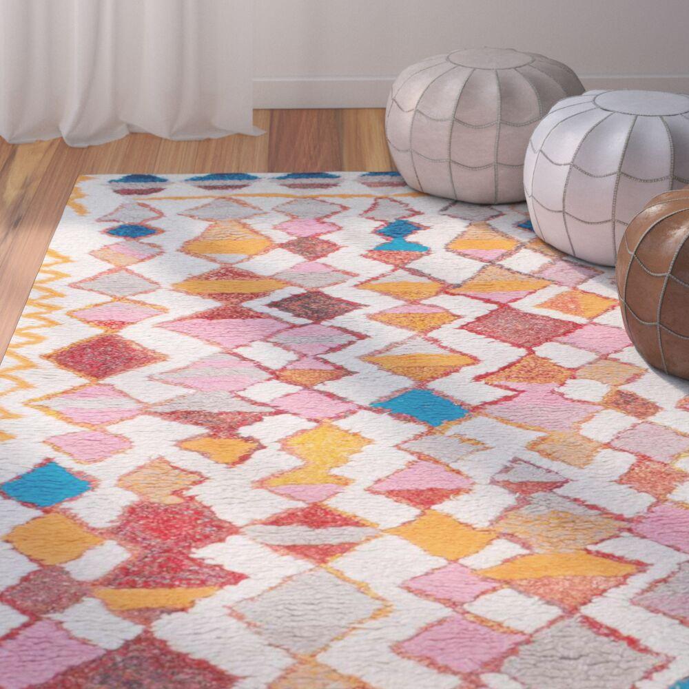 Zetta Hand-Tufted Orange/Pink Area Rug Rug Size: Rectangle 7'6
