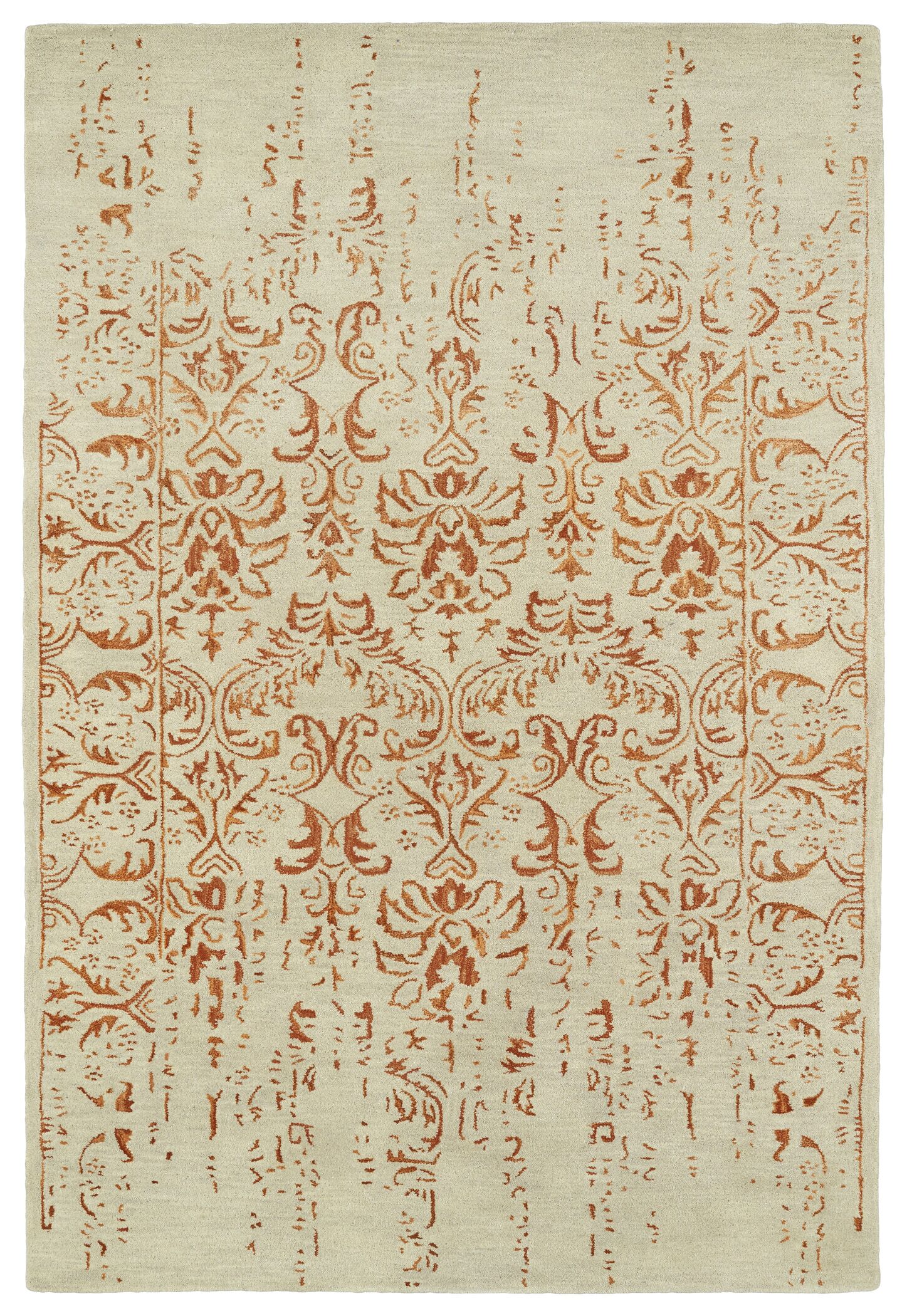 Lincolnton Hand-Tufted Beige / Paprika Area Rug Rug Size: Rectangle 3'6