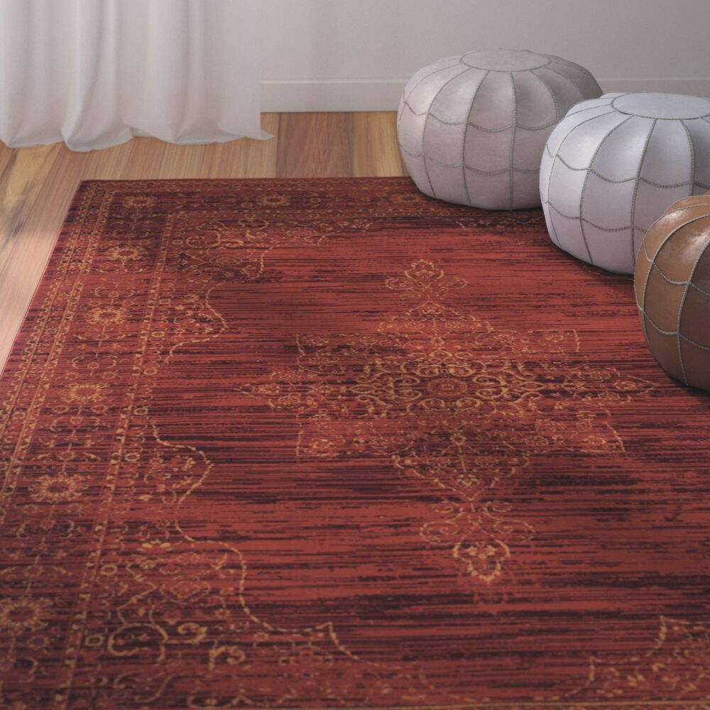 Watts Red Area Rug Rug Size: Rectangle 4' x 6'