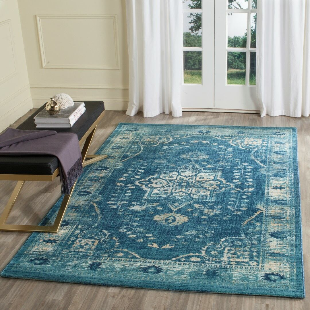 Elson Navy/Gold Area Rug Rug Size: Rectangle 9' x 12'