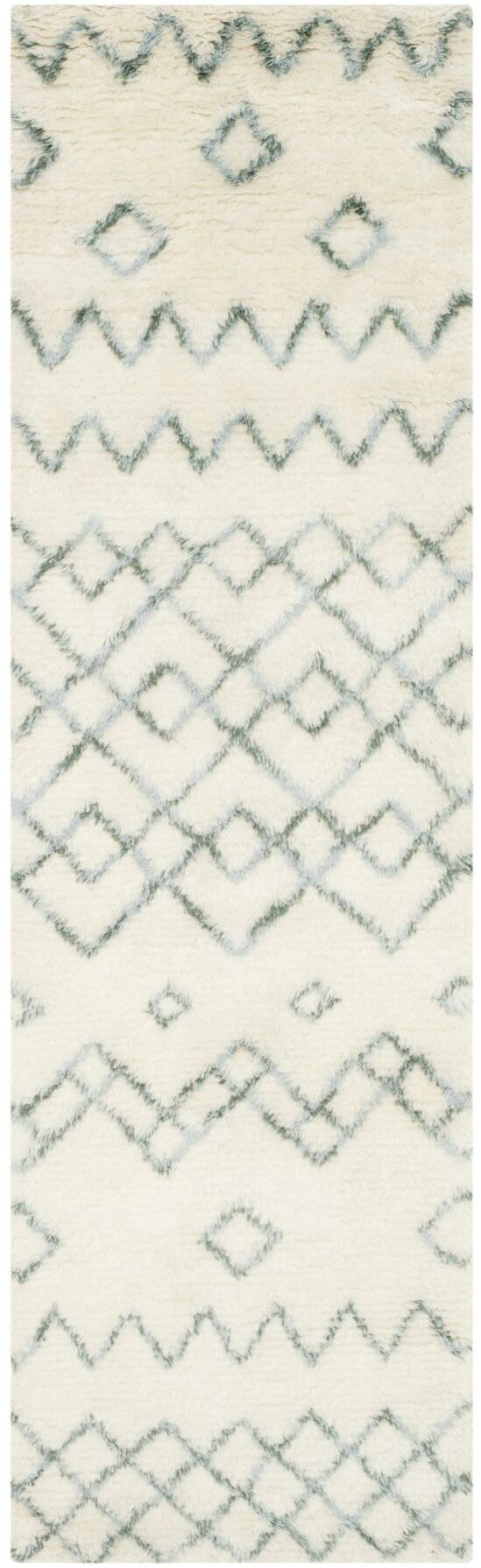 Lockheart Geometric Hand-Tufted Beige/Blue Area Rug Rug Size: Rectangle 4' x 6'
