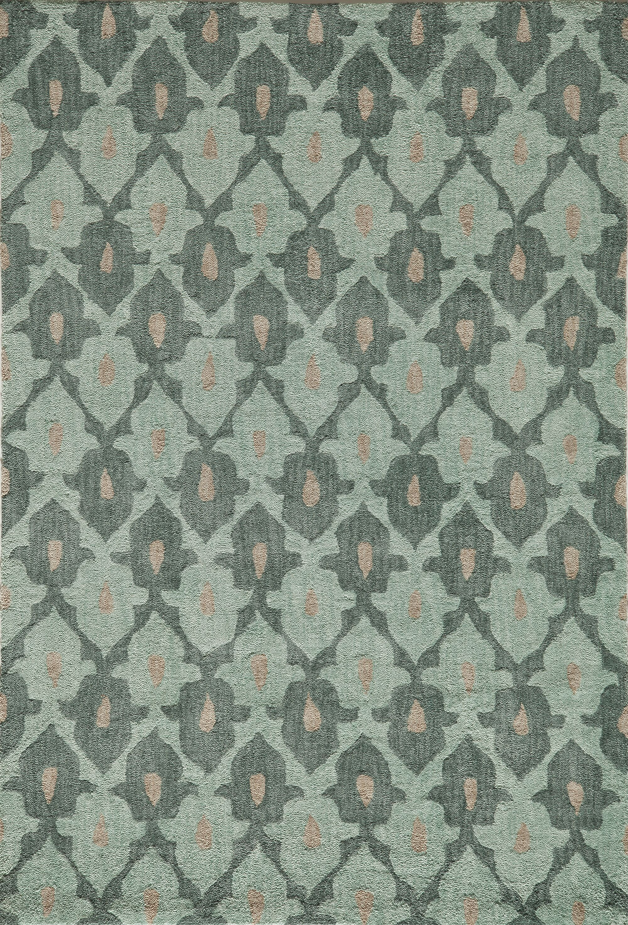 Allen Hand-Tufted Teal Area Rug Rug Size: Rectangle 5' x 7'6