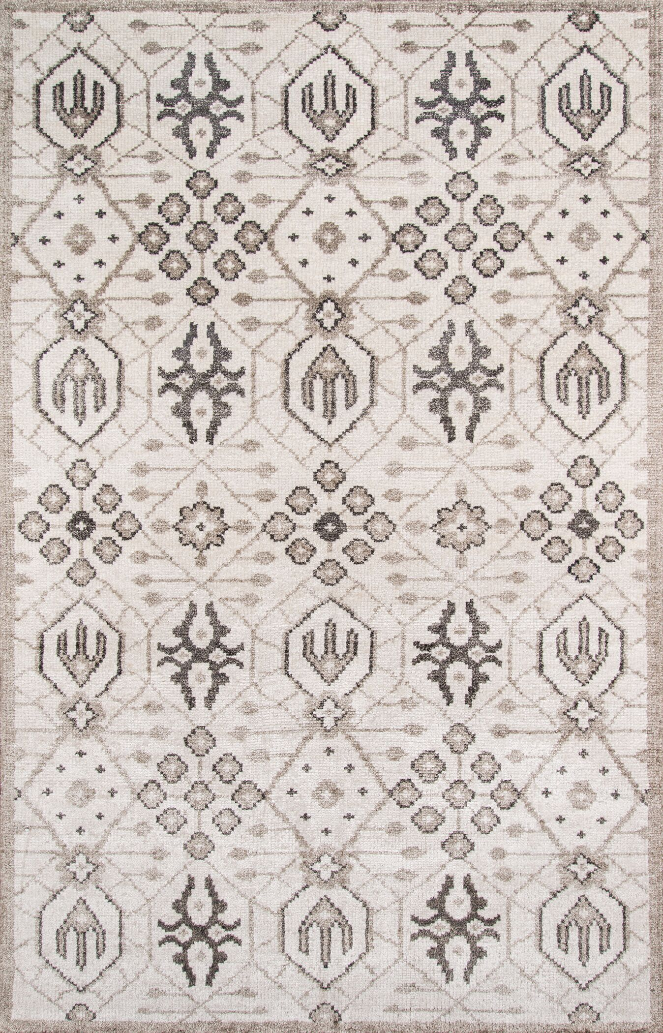 Zoey Hand-Knotted Gray Area Rug Rug Size: Rectangle 5' x 8'