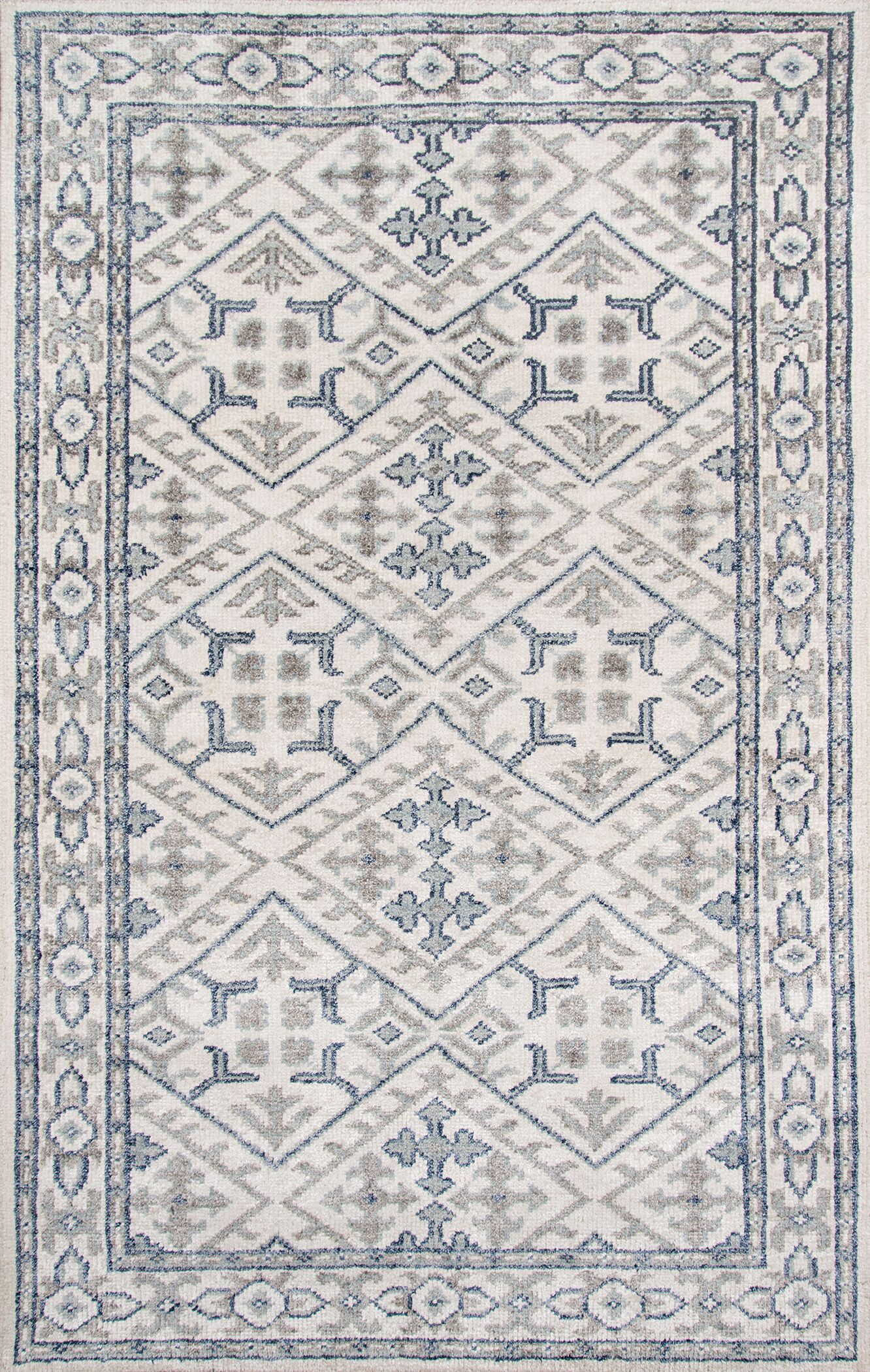 Zoey Hand-Knotted Ivory/Blue Area Rug Rug Size: Rectangle 5' x 8'