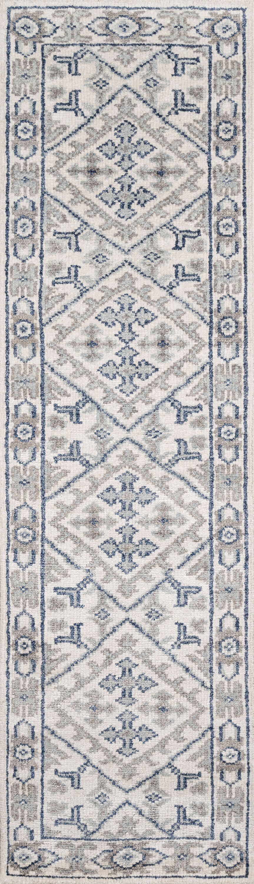 Zoey Hand-Knotted Ivory/Gray Area Rug Rug Size: Runner 2'3