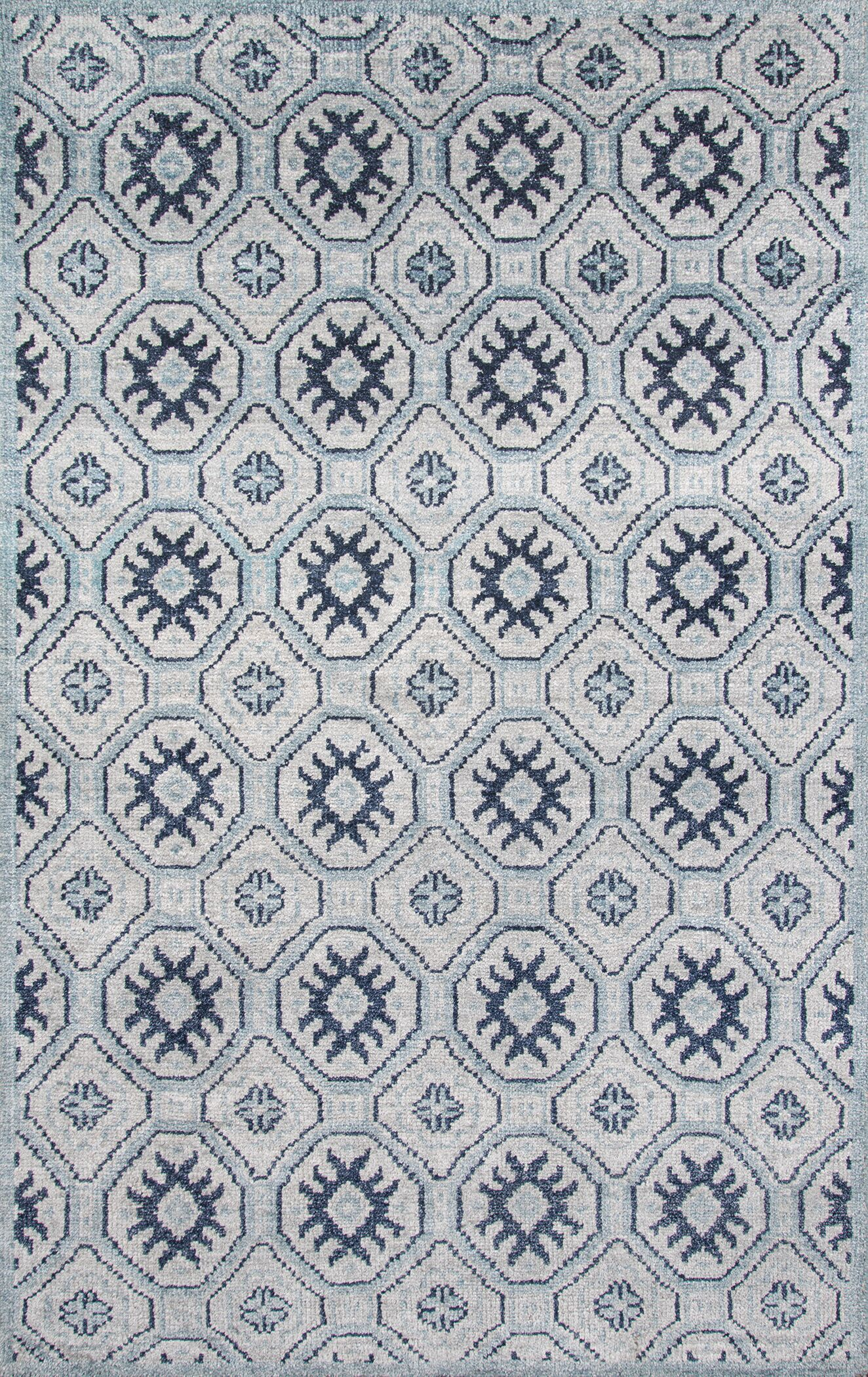Zoey Hand-Knotted Blue/Gray Area Rug Rug Size: Rectangle 8' x 11'