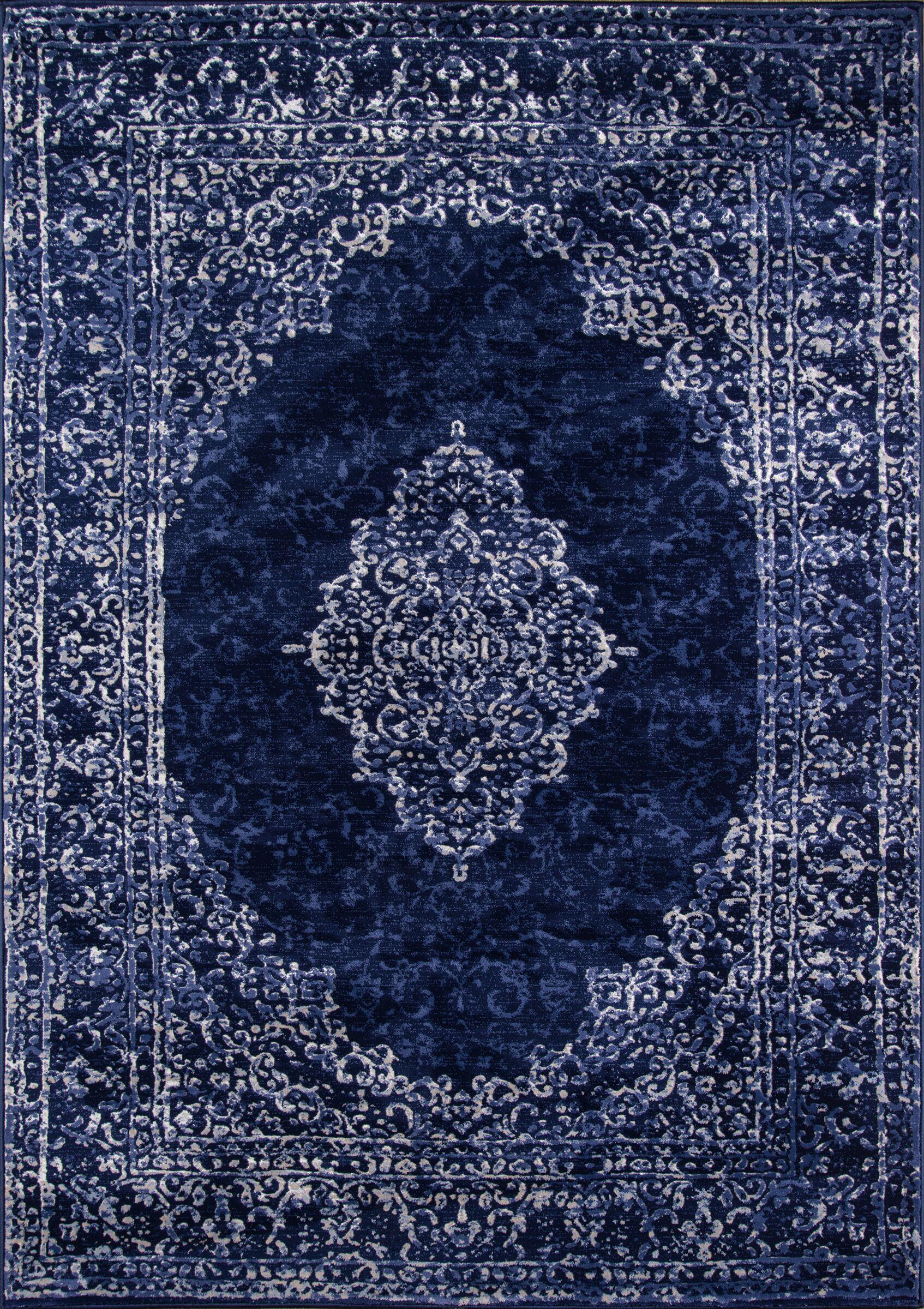 Arden Blue/Ivory Area Rug Rug Size: Rectangle 7'6