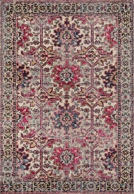 Elaine Beige/Pink Area Rug Rug Size: Rectangle 3'11