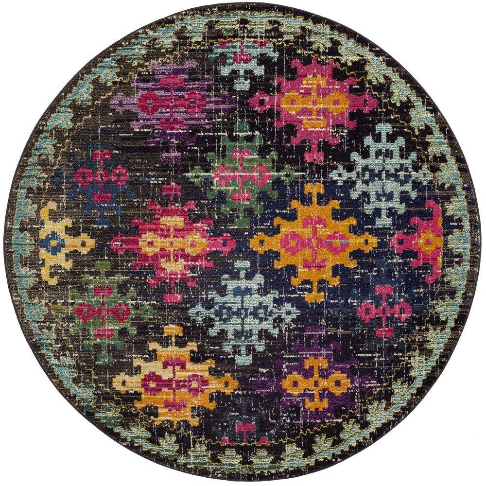 Crosier Green/Pink Area Rug Rug Size: Round 6'7