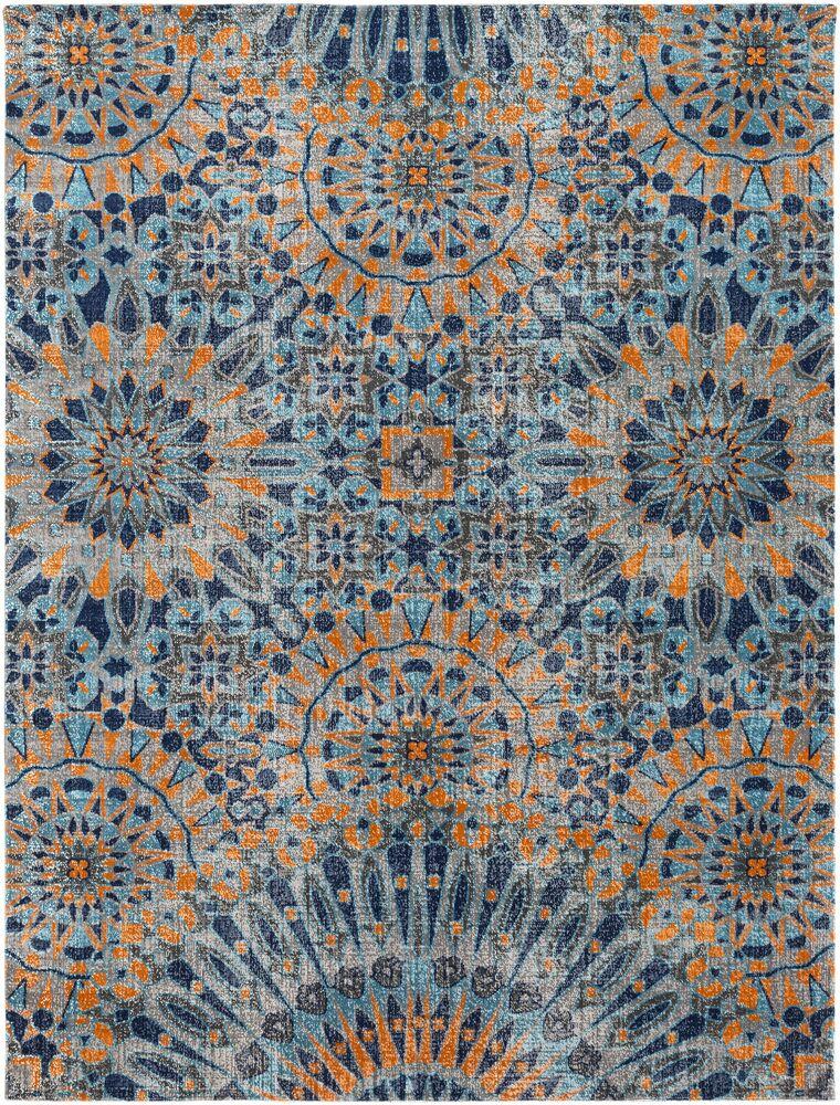 Arabi Blue/Orange Area Rug Rug Size: Rectangle 7'10