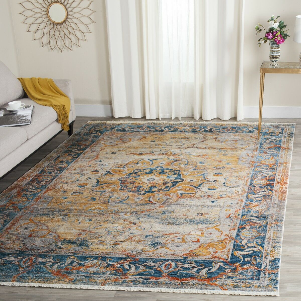 Marigold Blue/Orange Area Rug Rug Size: Rectangle 4' x 6'