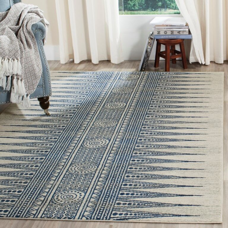 Elson Ivory/Blue Area Rug Rug Size: Rectangle 8' x 10'