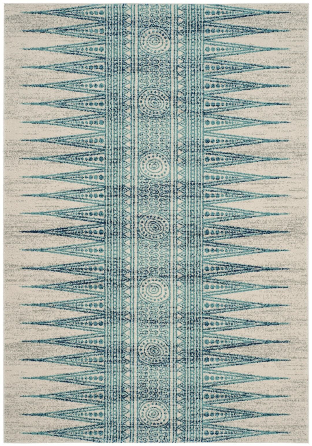 Elson Turquoise/Ivory Area Rug Rug Size: Rectangle 9' x 12'