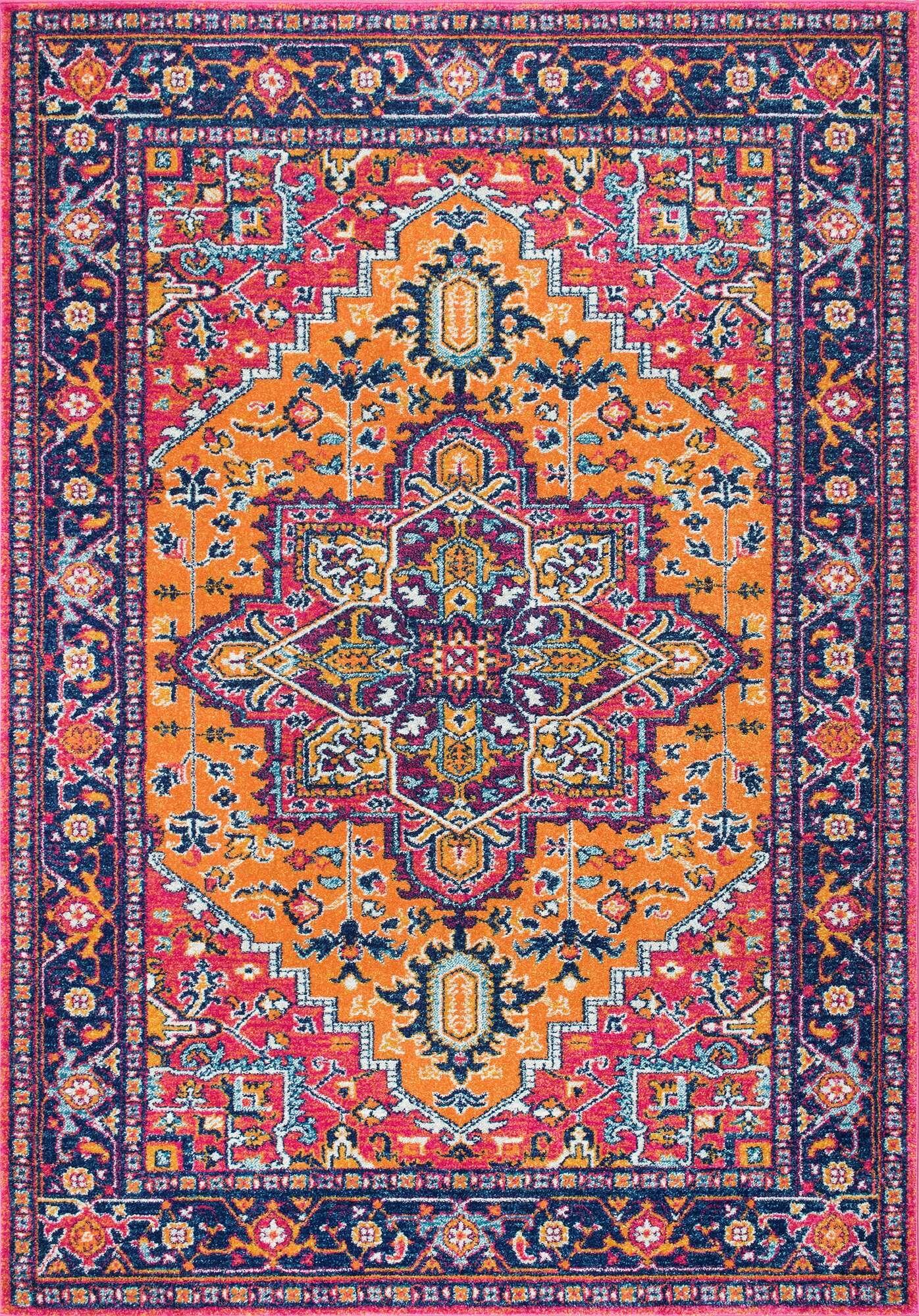Ashlee Pink/Orange Area Rug Rug Size: Rectangle 8' x 10'
