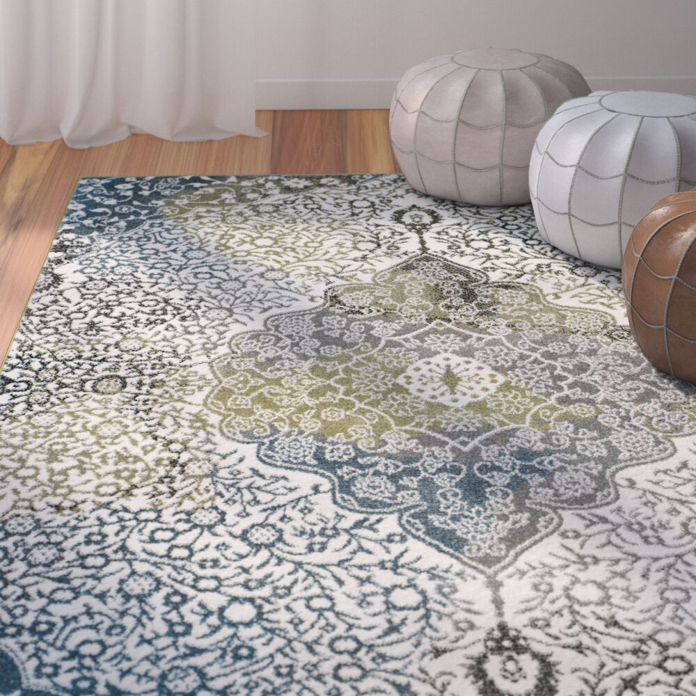 Nakano Beige/Blue Area Rug Rug Size: Rectangle 9' x 12'