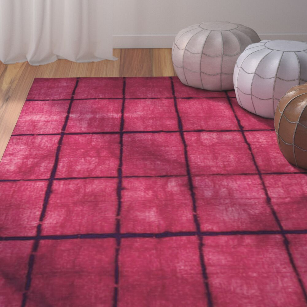 Steinsel Hand-Loomed Bright Pink/Burgundy Area Rug Rug Size: Rectangle 5' x 8'