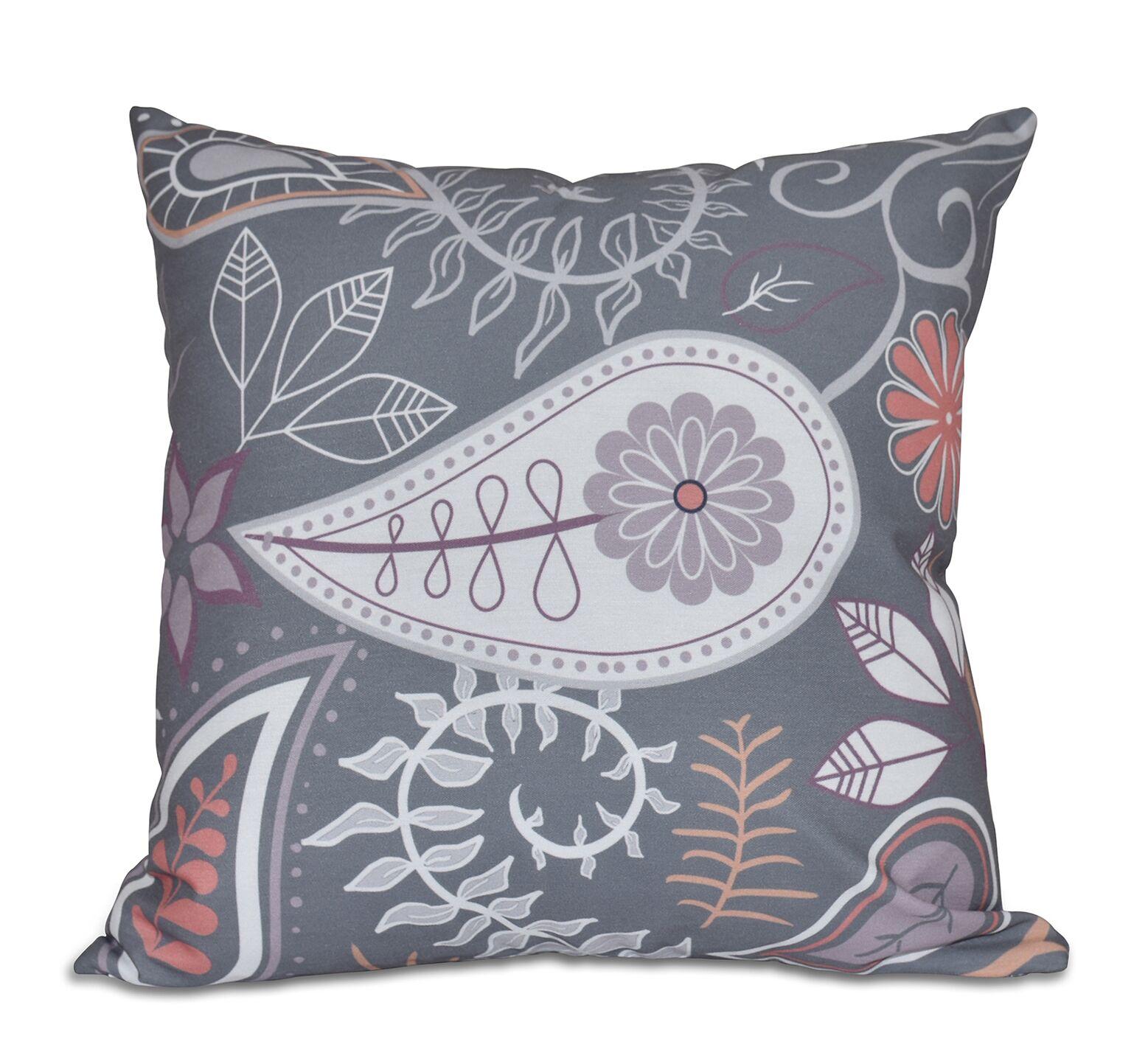 Vinoy Paisley Floral Throw Pillow Size: 16