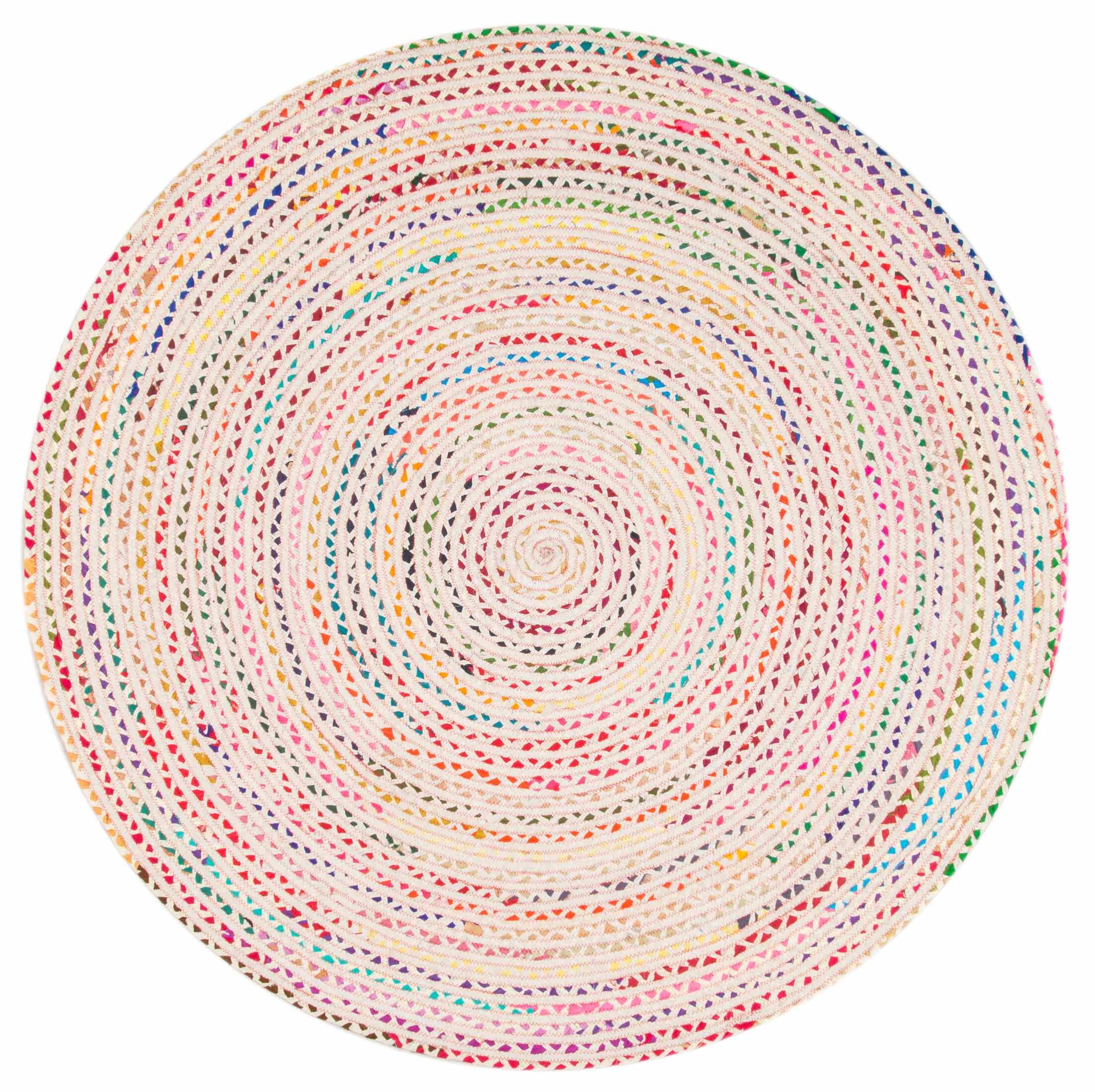 Ponder Hand-Braided Ivory Area Rug Rug Size: Round 8'