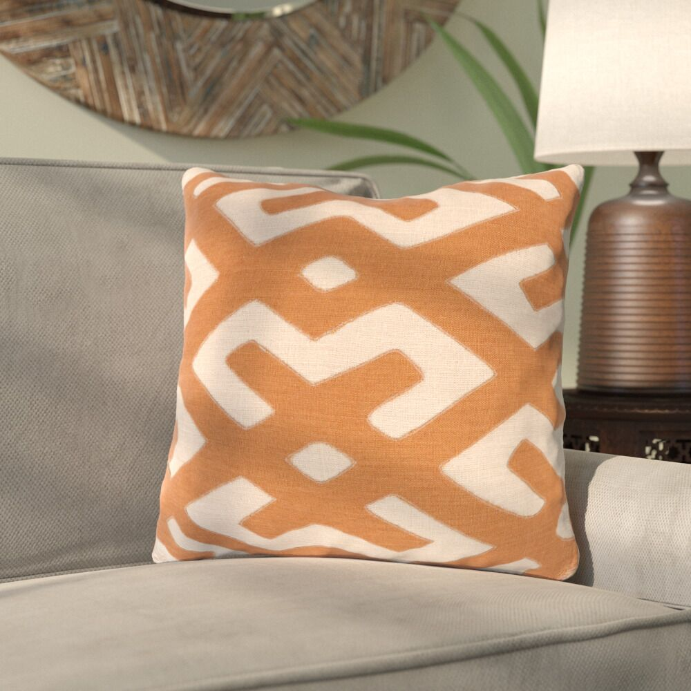 Kreta Linen Throw Pillow Color: Rust/Beige, Size: 22
