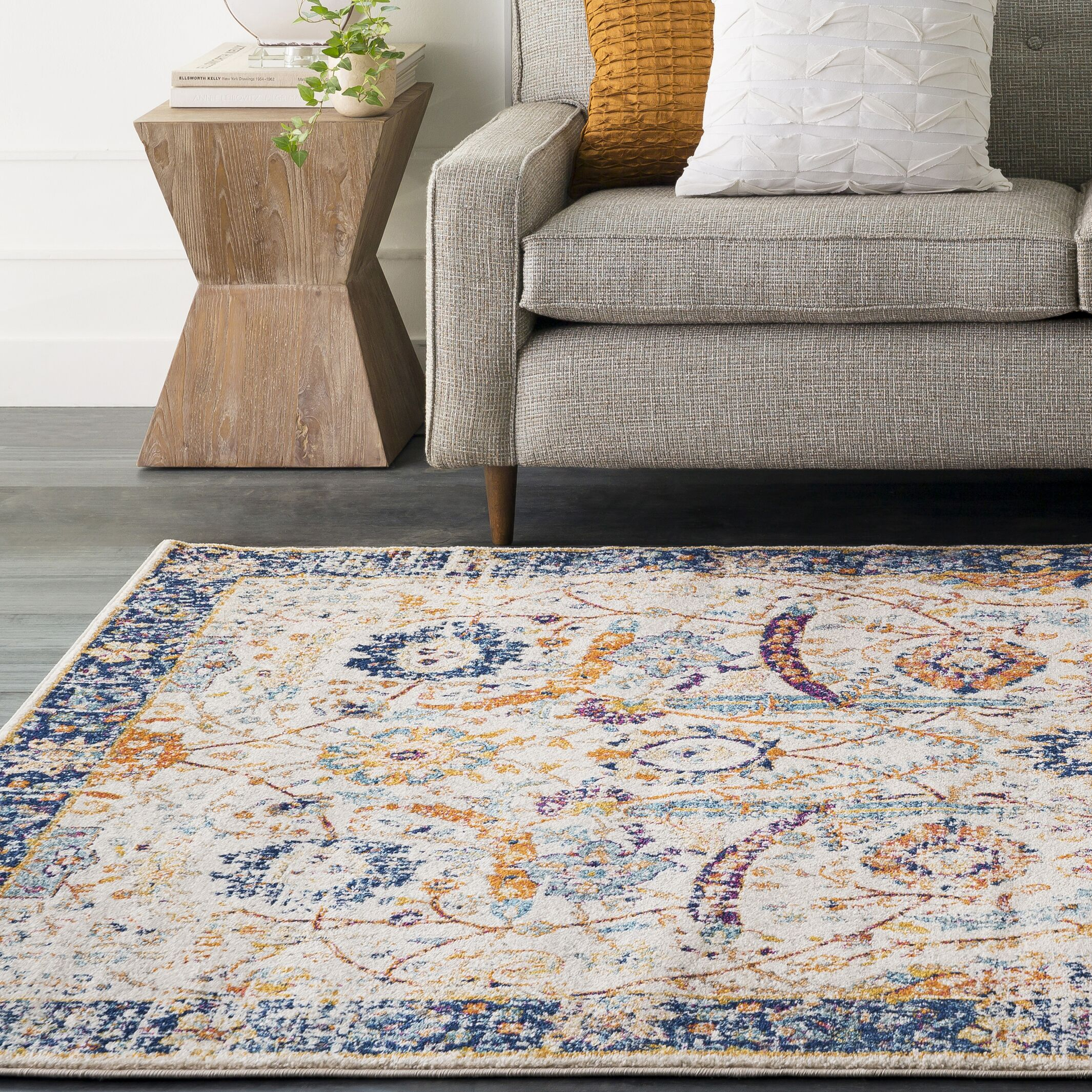 Hillsby Beige/Blue Area Rug Rug Size: Rectangle 9'3
