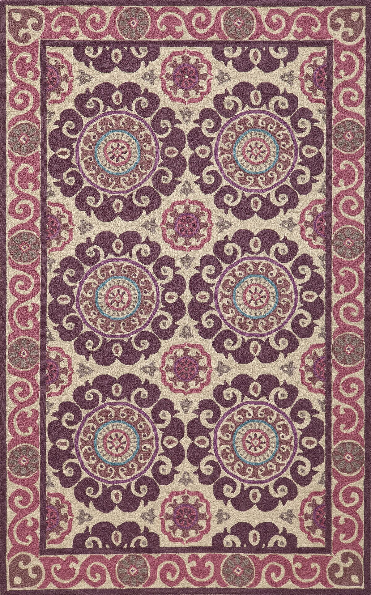 Roeser Purple Area Rug Rug Size: Rectangle 5' x 8'