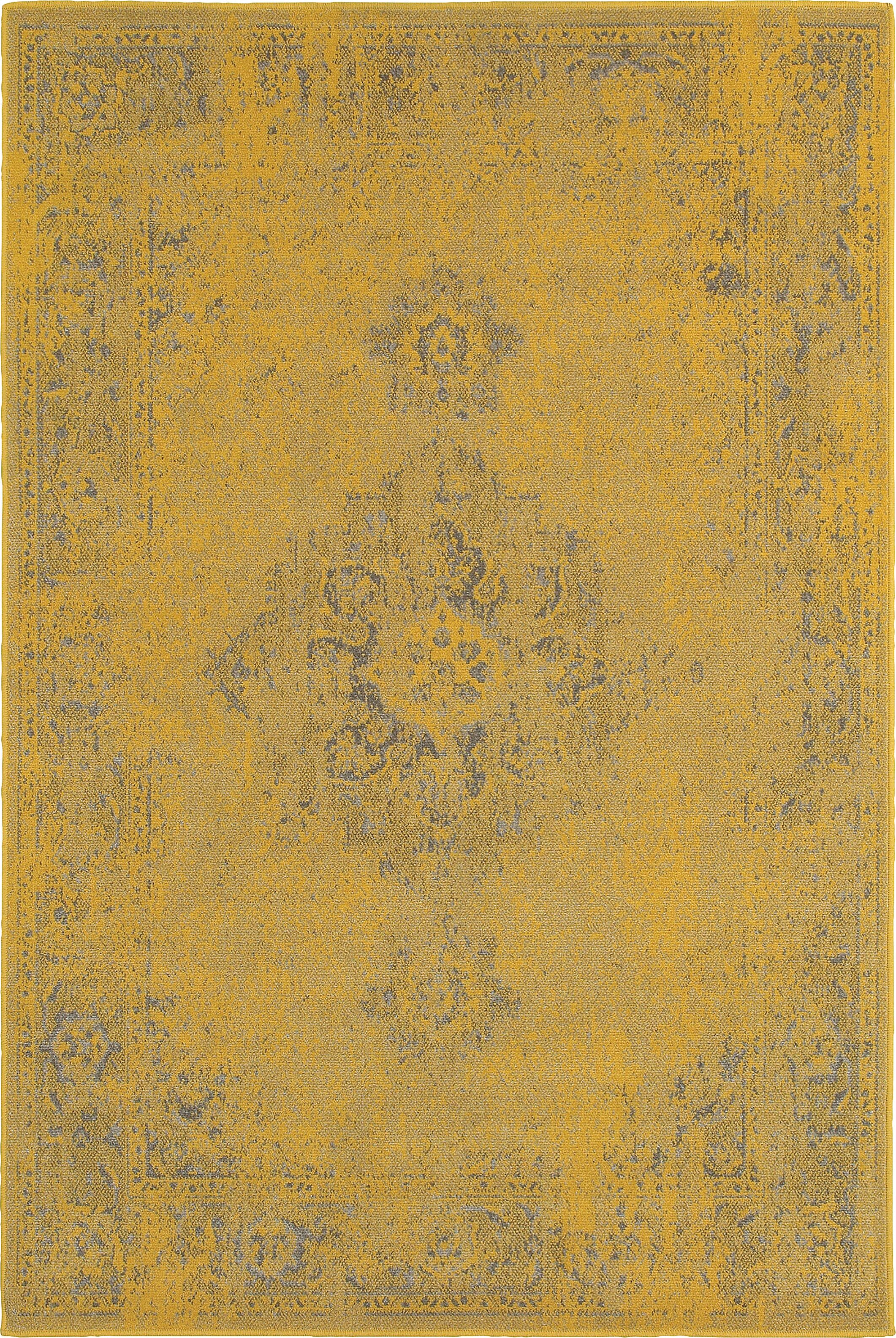 Raiden Yellow/Gray Area Rug Rug Size: Rectangle 5'3