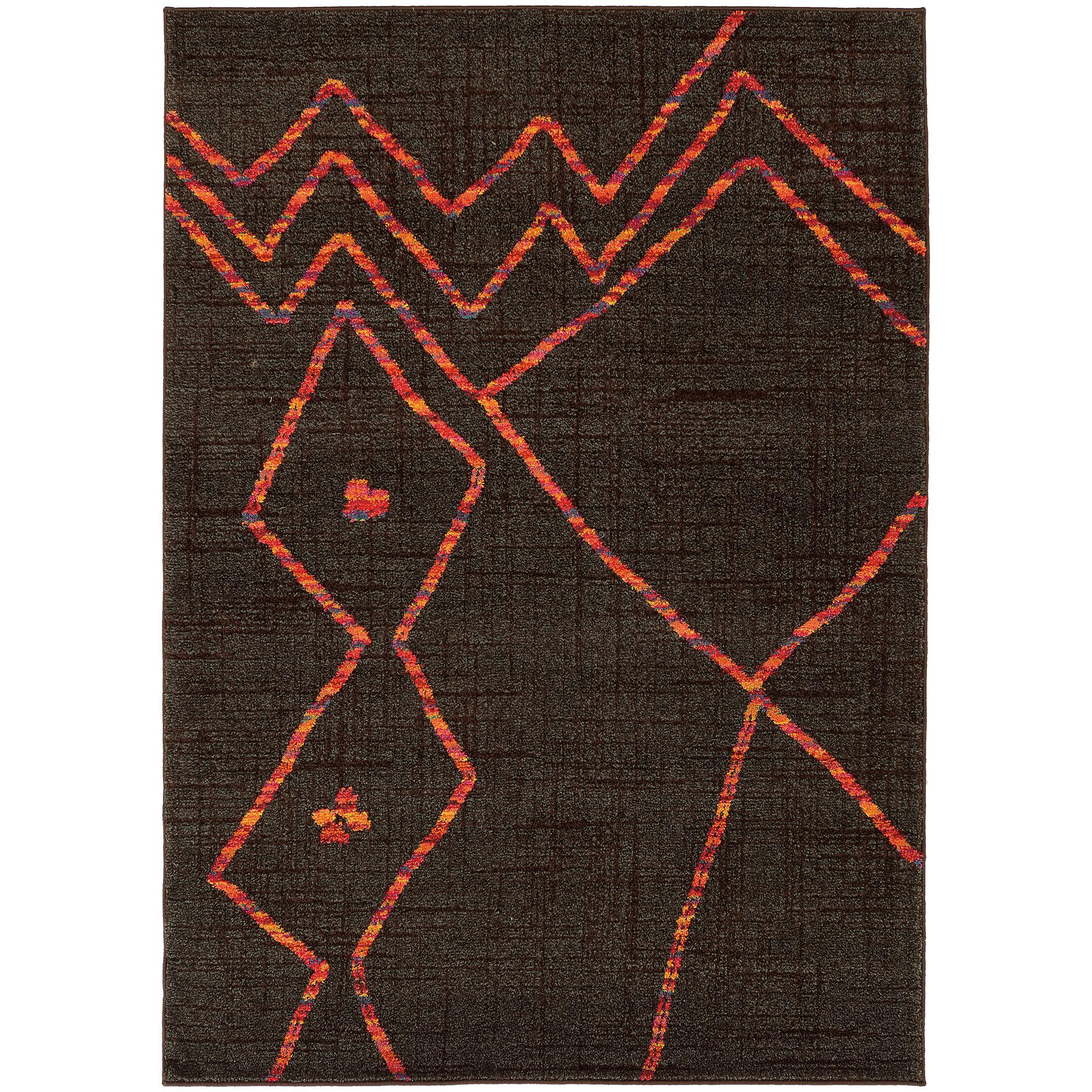 Marquis Brown/Orange Area Rug Rug Size: Rectangle 9'9