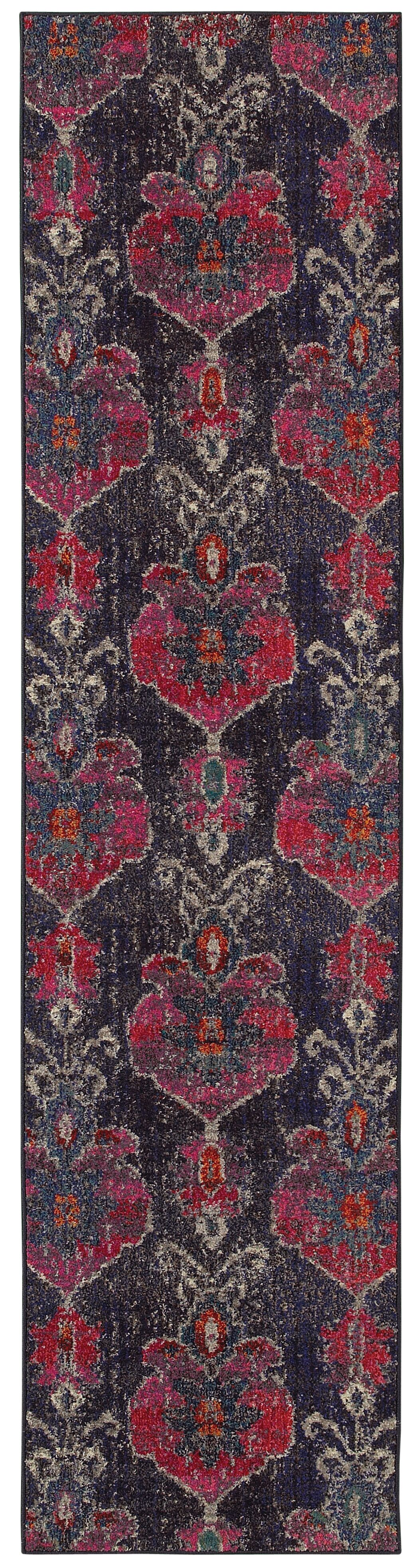 Terrell Floral Ikat Gray/Pink Area Rug Rug Size: Runner 2'7
