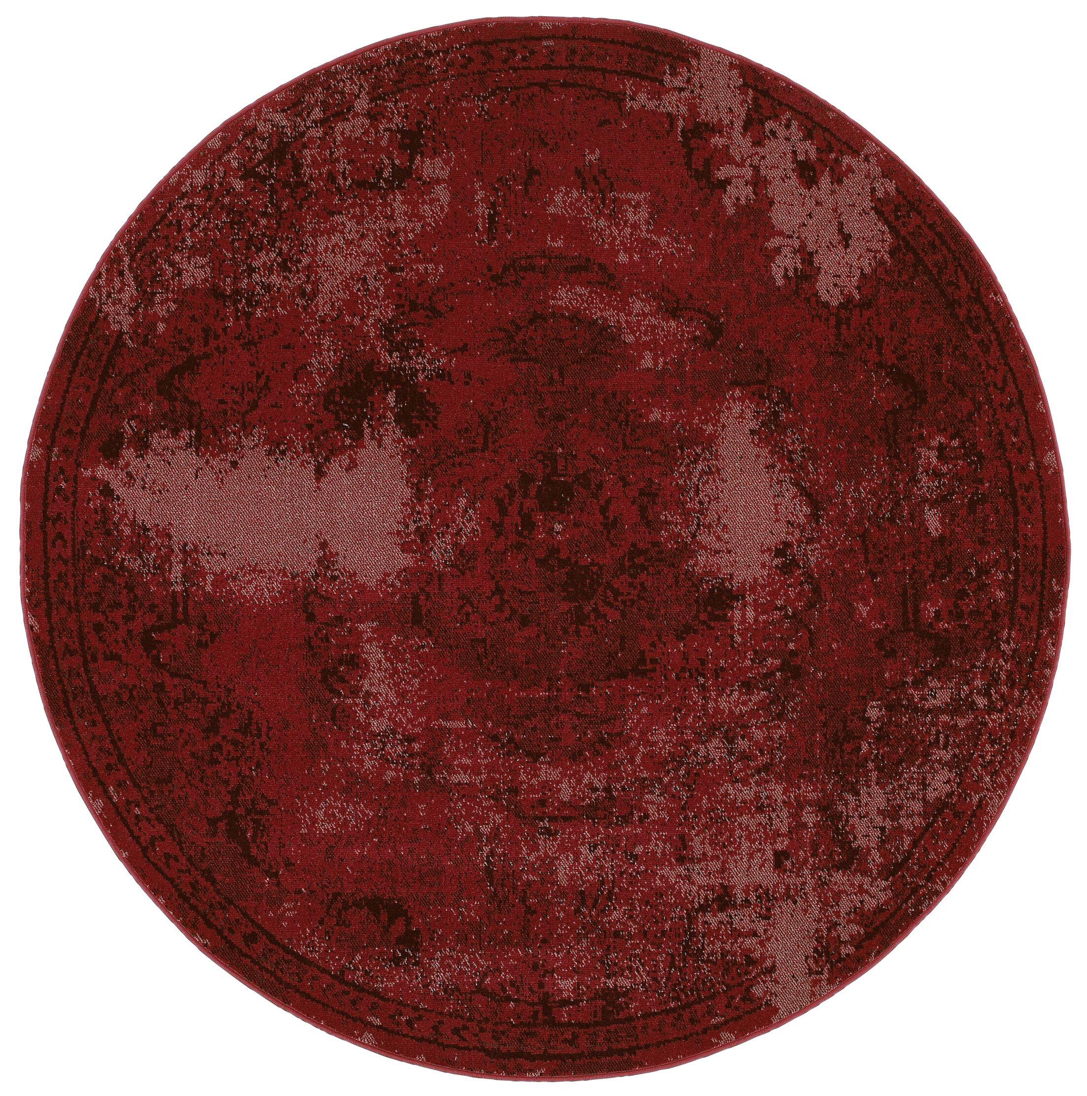 Raiden Garnet Red Area Rug Rug Size: Round 7'8