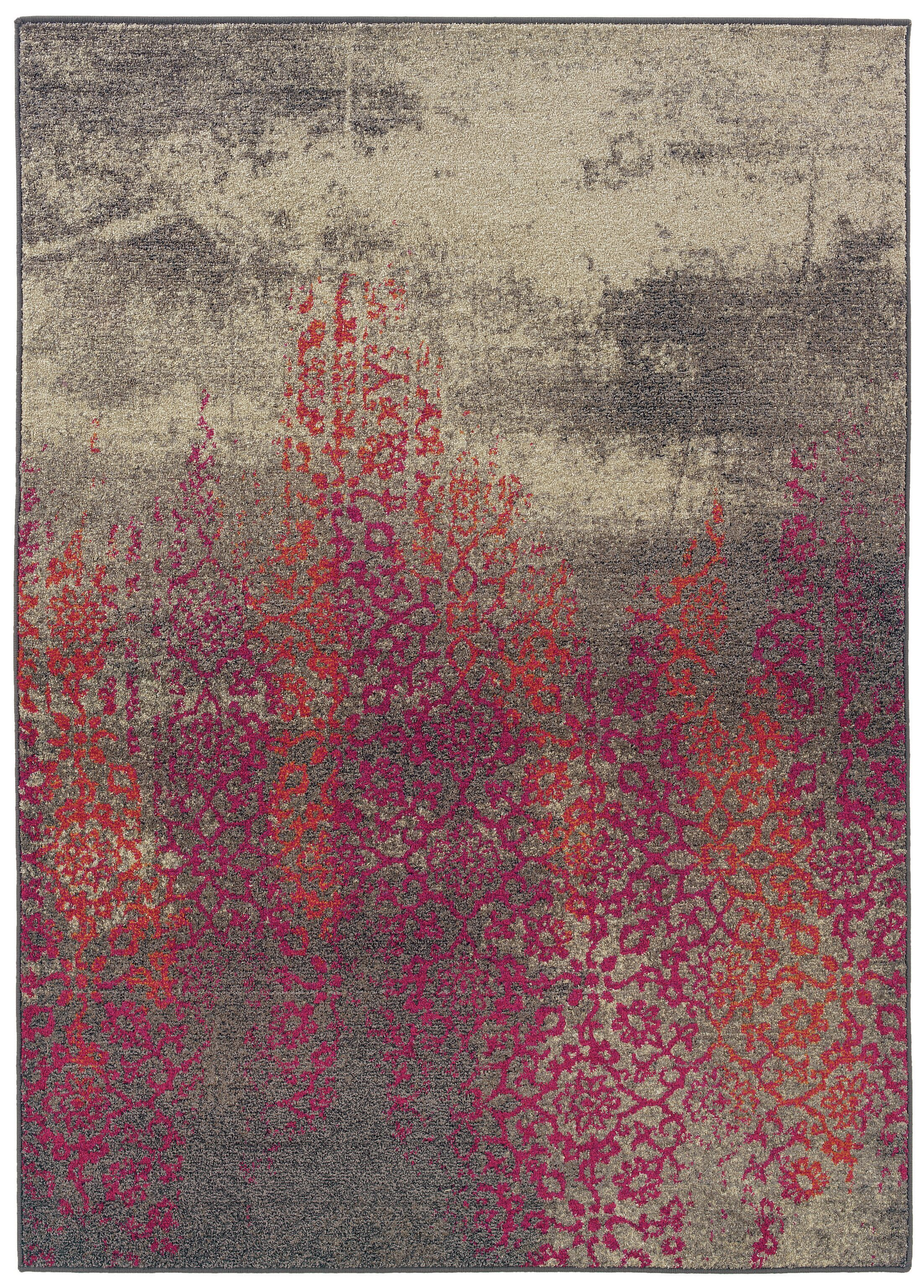 Terrell Gray/Pink Area Rug Rug Size: Rectangle 7'6
