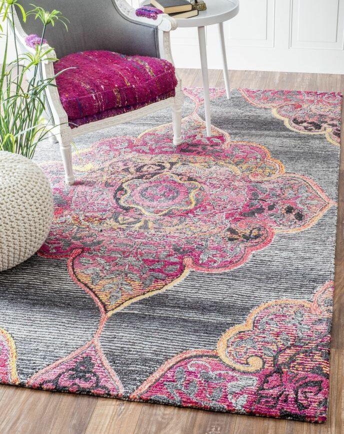Errouda Hand-Tufted Pink/Gray Area Rug Rug Size: Rectangle 8'6