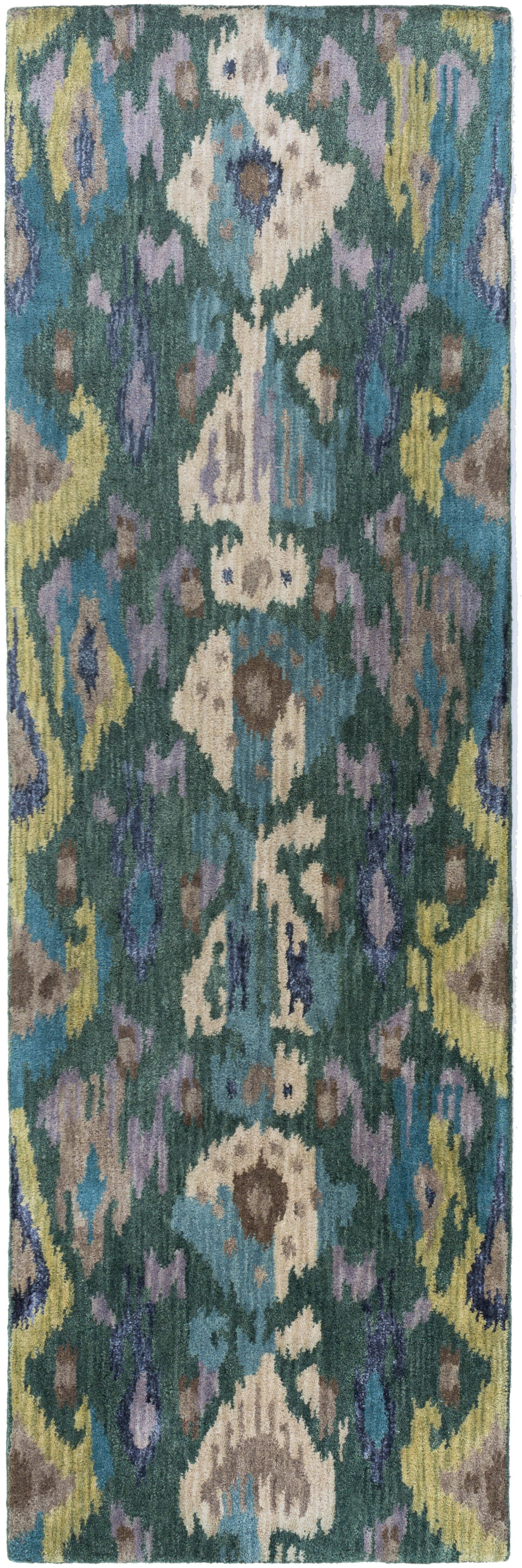 Bower Teal Ikat/Suzani Area Rug Rug Size: Runner 2'6