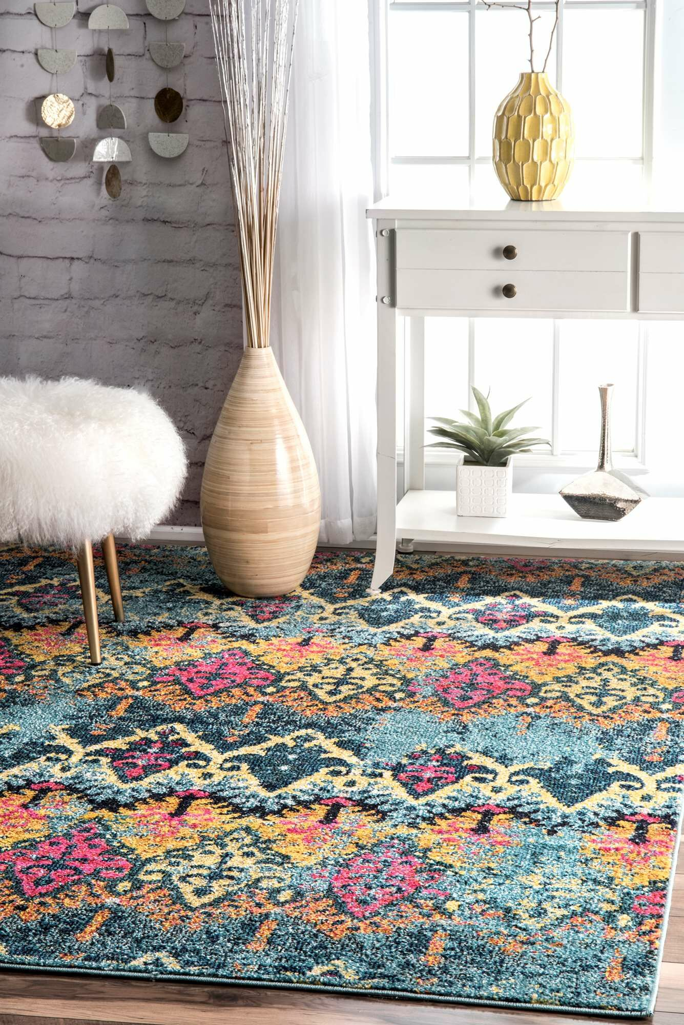 Chandler Blue/Yellow Area Rug Rug Size: Rectangle 5' x 8'