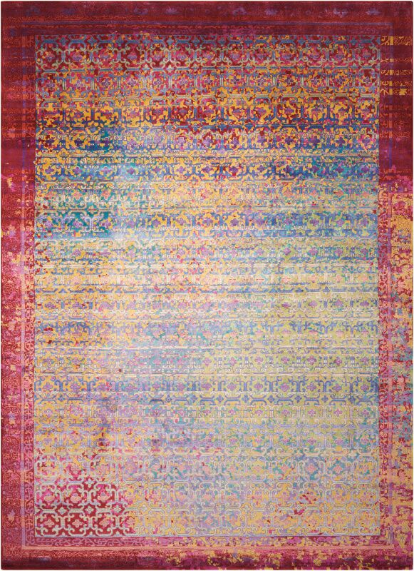 Nommern Hand-Knotted Blue/Yellow/Pink Area Rug Rug Size: Rectangle 9'9