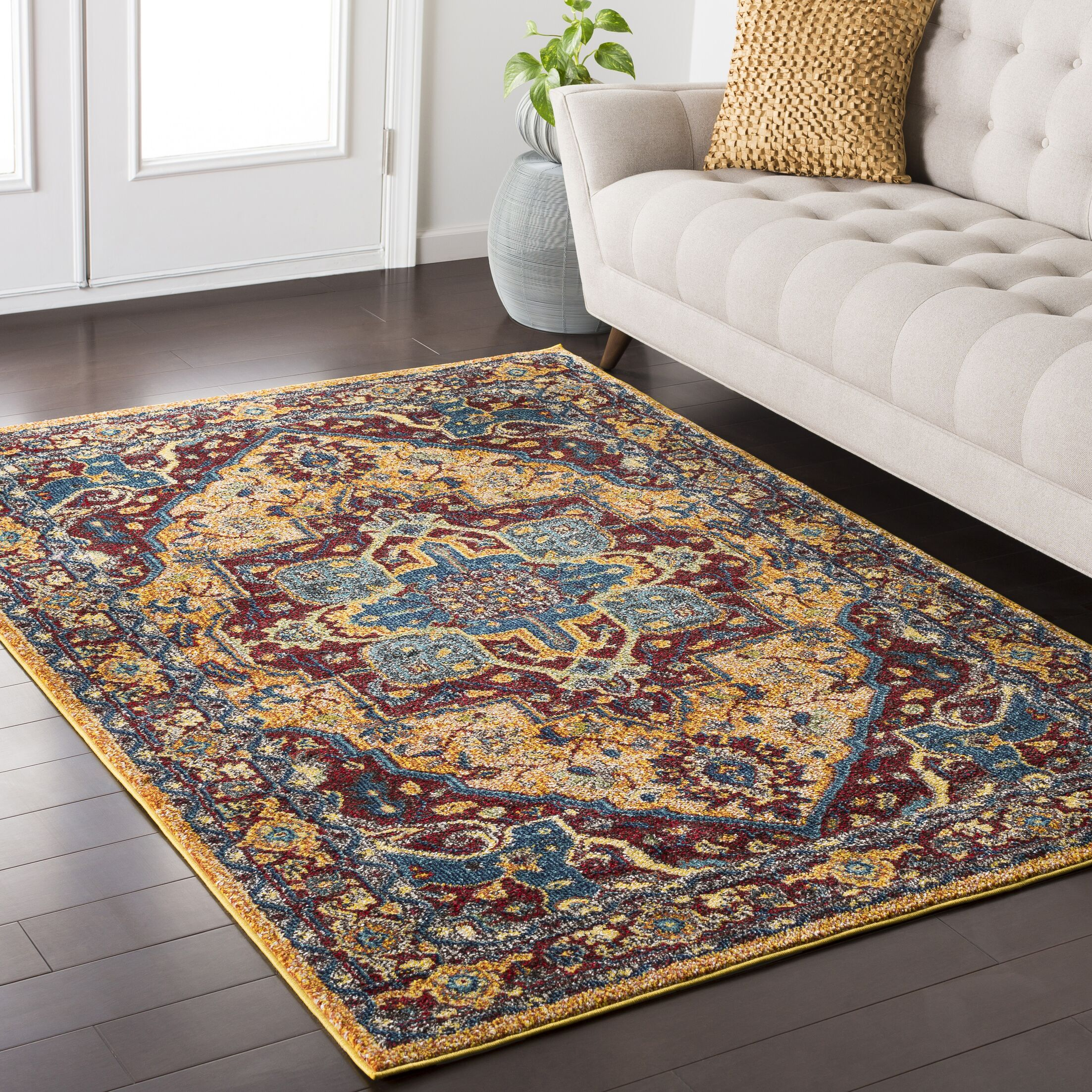 Andersonville Yellow / Red Area Rug Rug Size: Rectangle 7'10