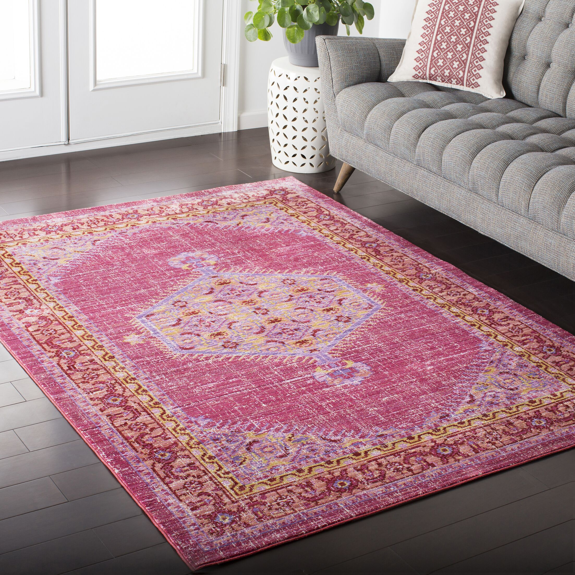 Fields Bright Pink/Bright Orange Area Rug Rug Size: Rectangle 5'3