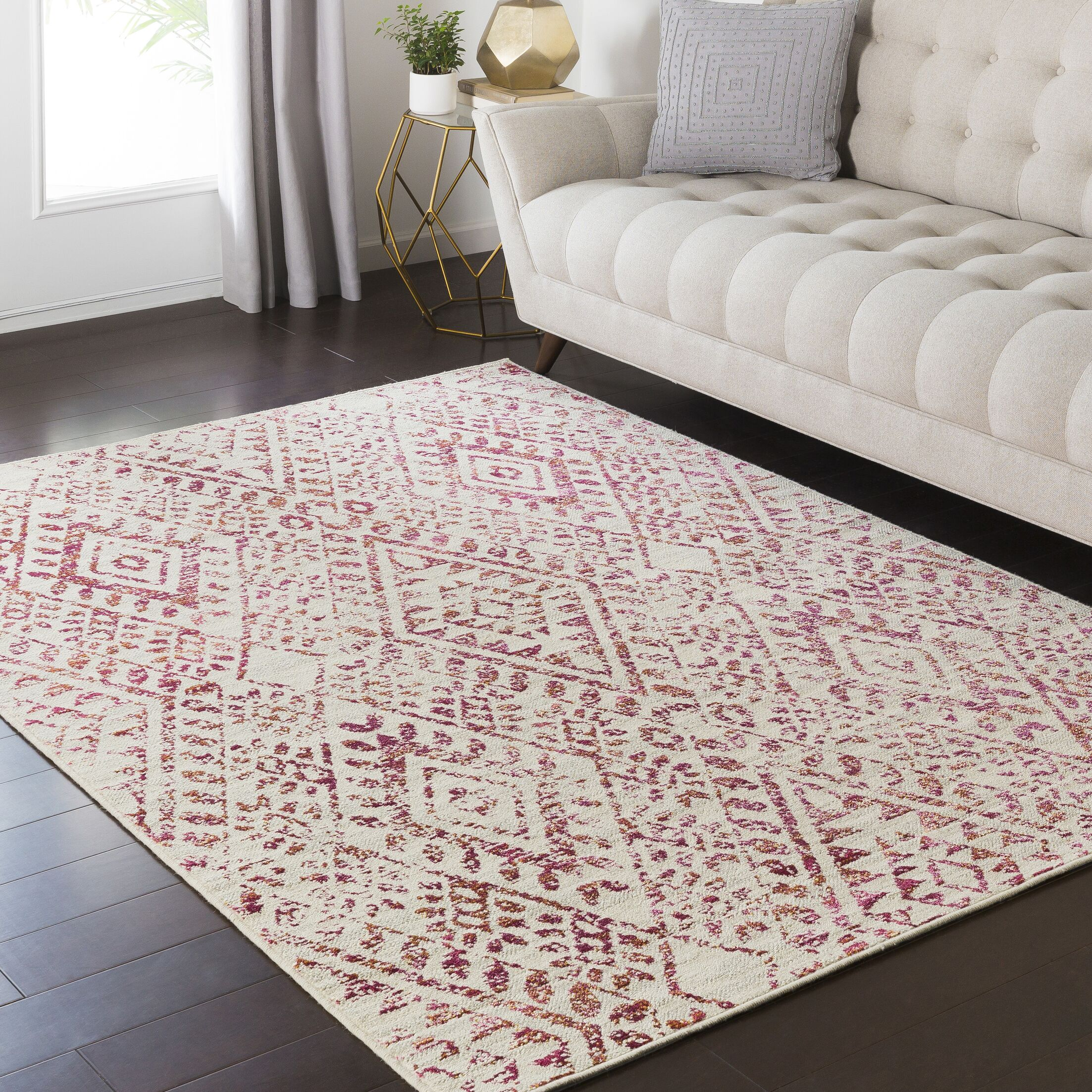 Puran Pink/Cream Area Rug Rug Size: Rectangle 7'10