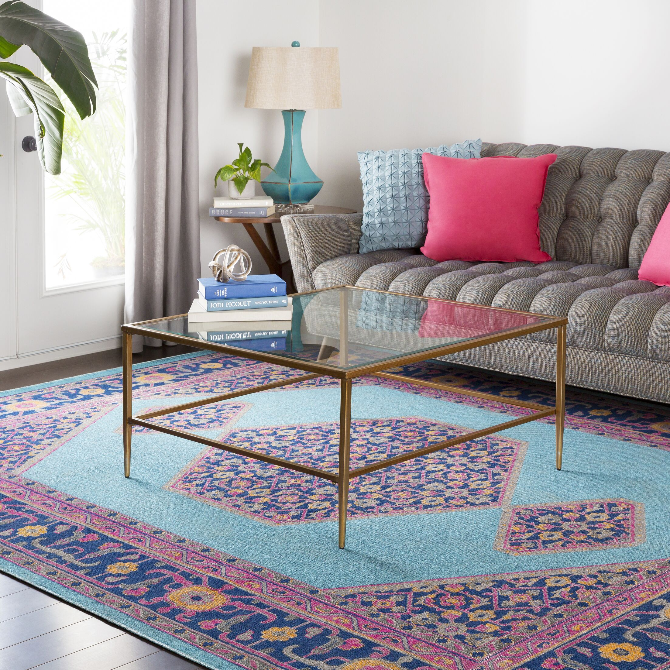 Arabi Tibetan Pink/Blue Area Rug Rug Size: Rectangle 7'10