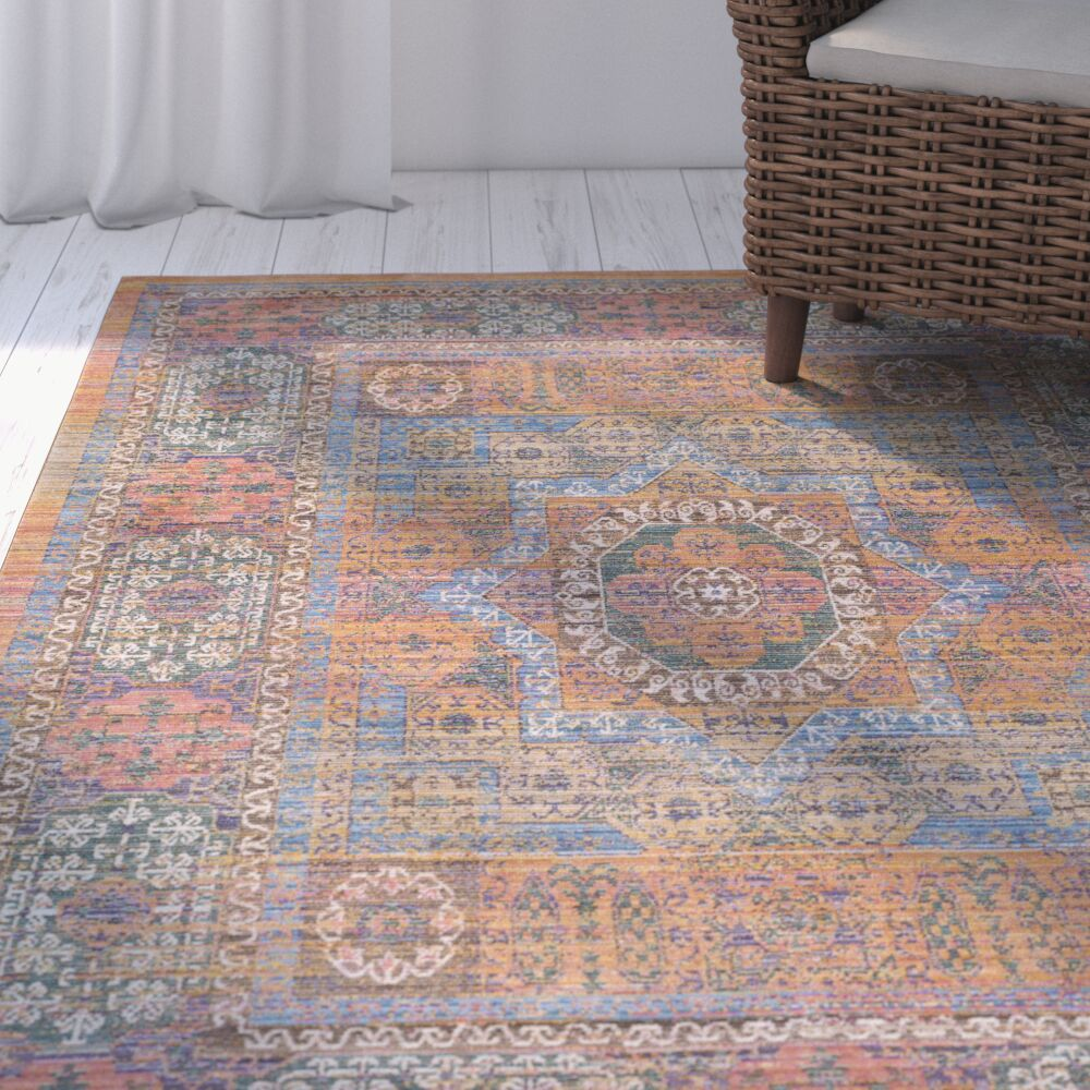 Fields Yellow / Blue Area Rug Rug Size: Rectangle 3'11