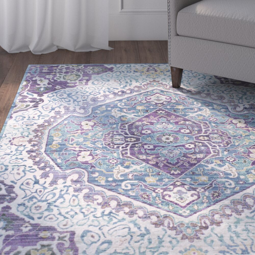 Fields Bright Purple/Pale Blue Area Rug Rug Size: Rectangle 5'3