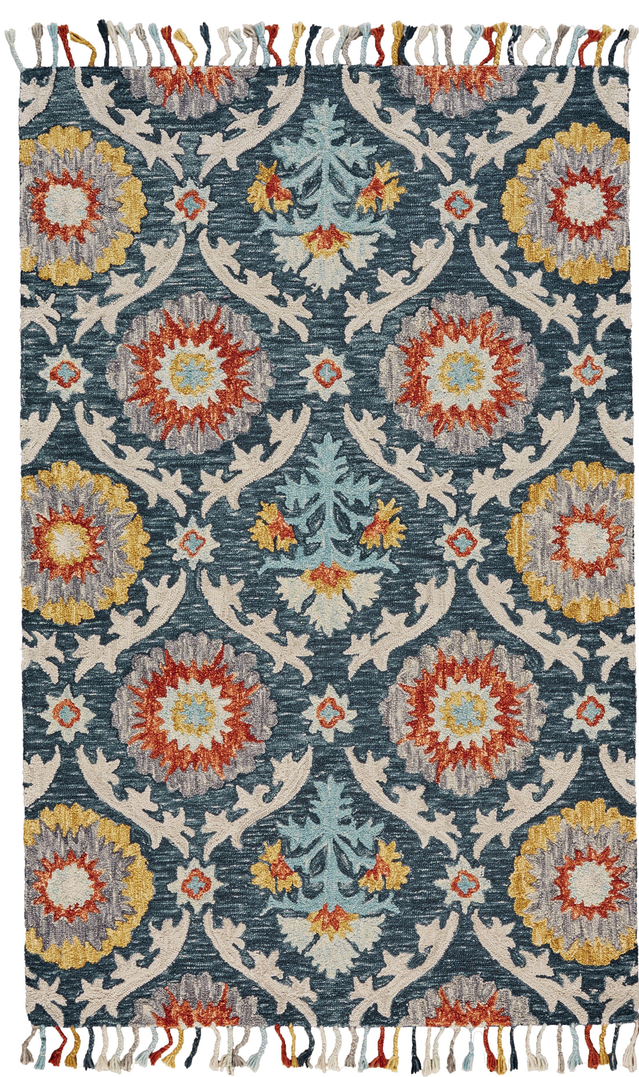 Fleurette Hand-Tufted Blue Ocean Area Rug Rug Size: Rectangle 3'6