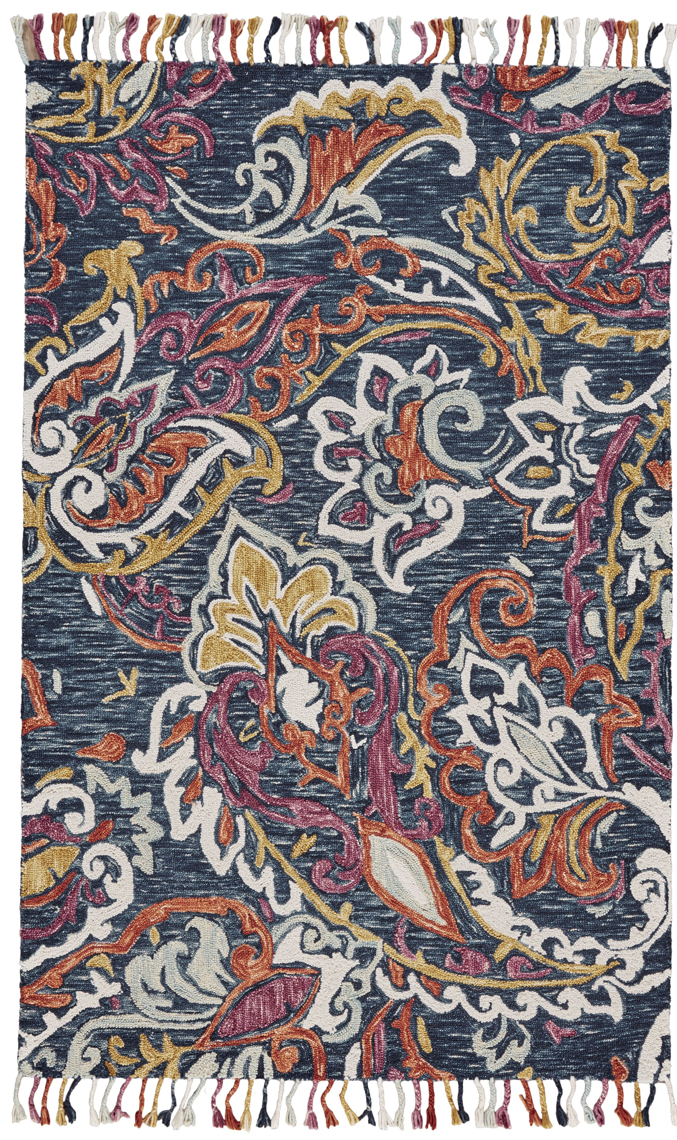 Fleurette Hand-Tufted Orchid/Blue Area Rug Rug Size: Rectangle 8' x 11'