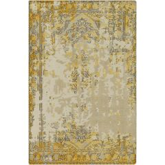 Jayden Hand-Knotted Bright Yellow/Taupe Area Rug Rug Size: 9' x 13'