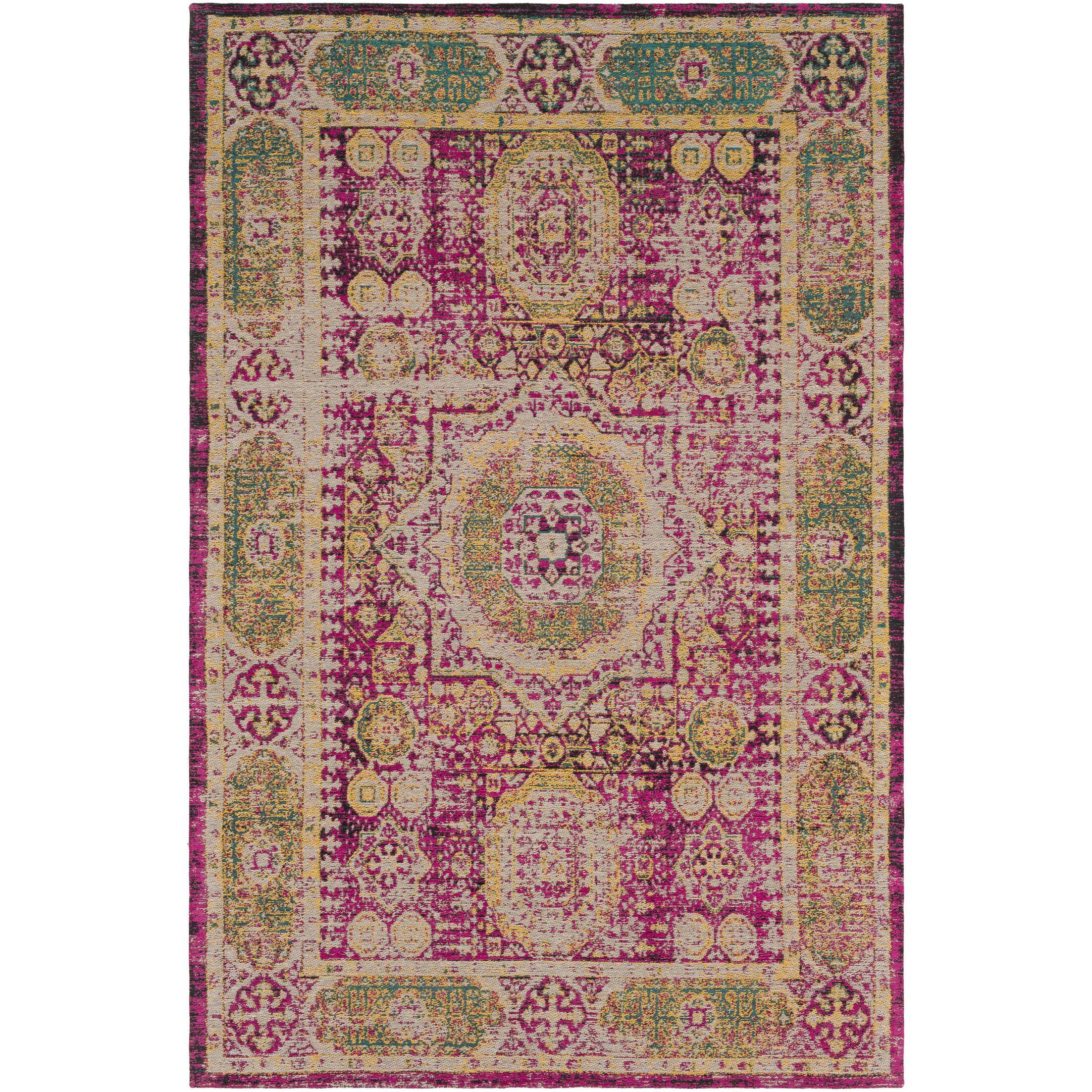 Hamza Hand-Woven Bright Pink/Saffron Area Rug Rug Size: Rectangle 8' x 10'